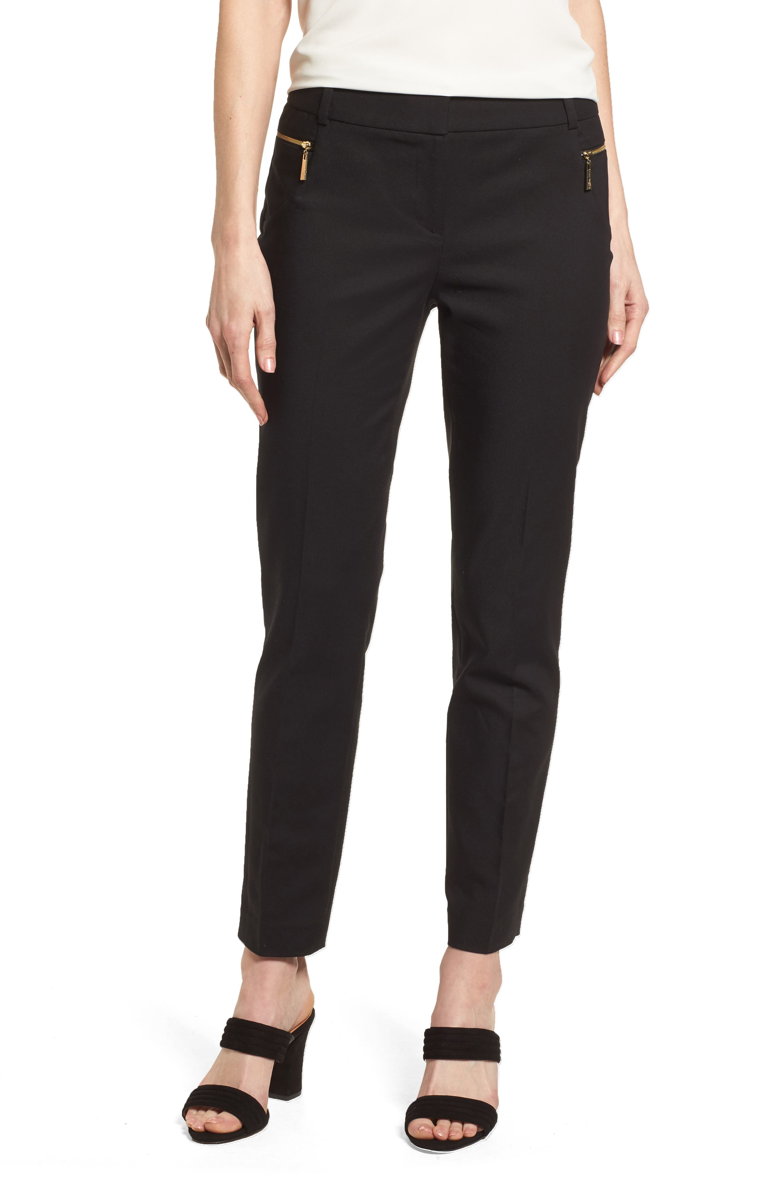 Dena Zip Pocket Ankle Pants,                         Main,                         color, 001