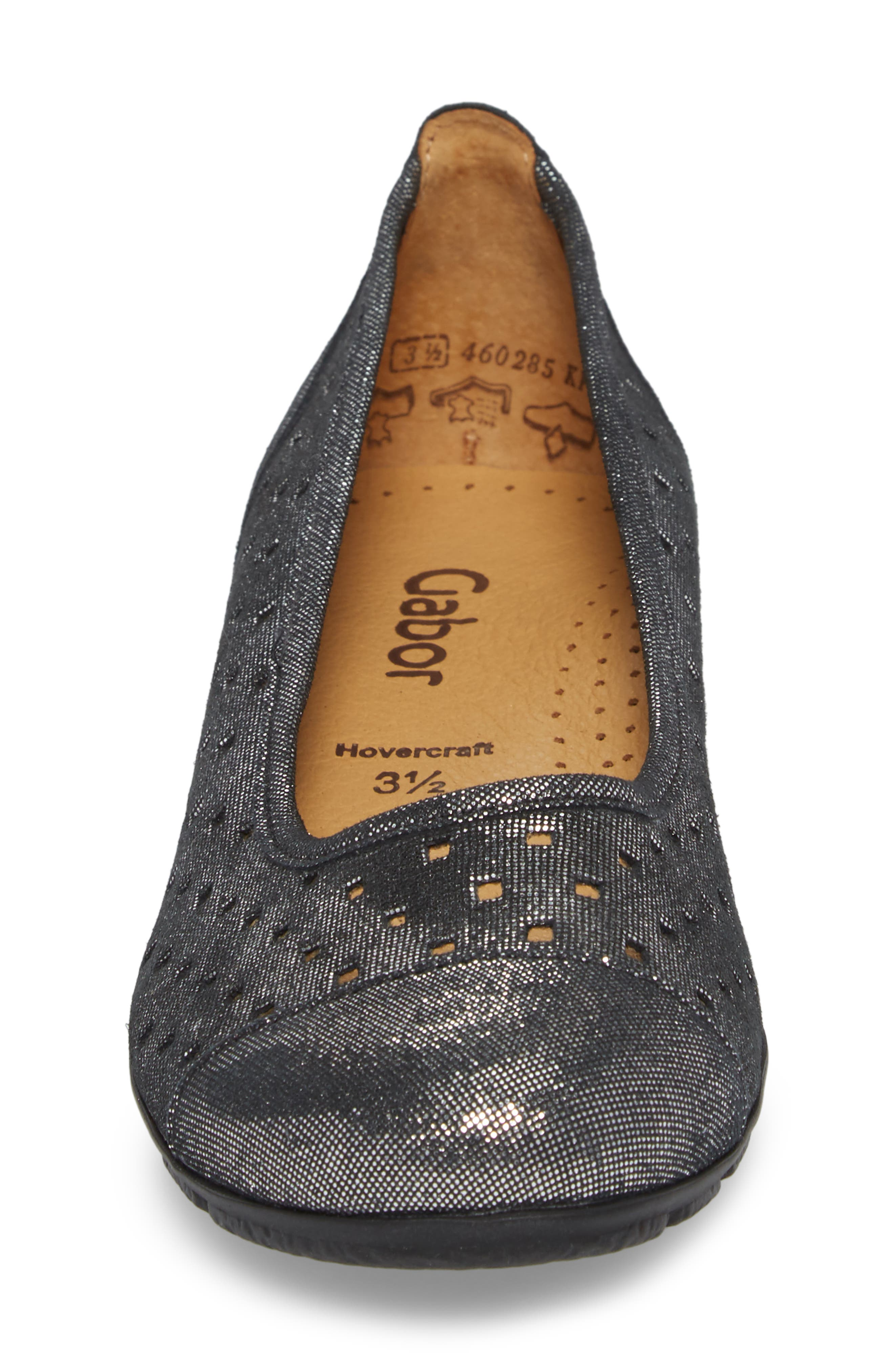 Perforated Ballet Flat,                             Alternate thumbnail 4, color,                             BLACK METALLIC LEATHER