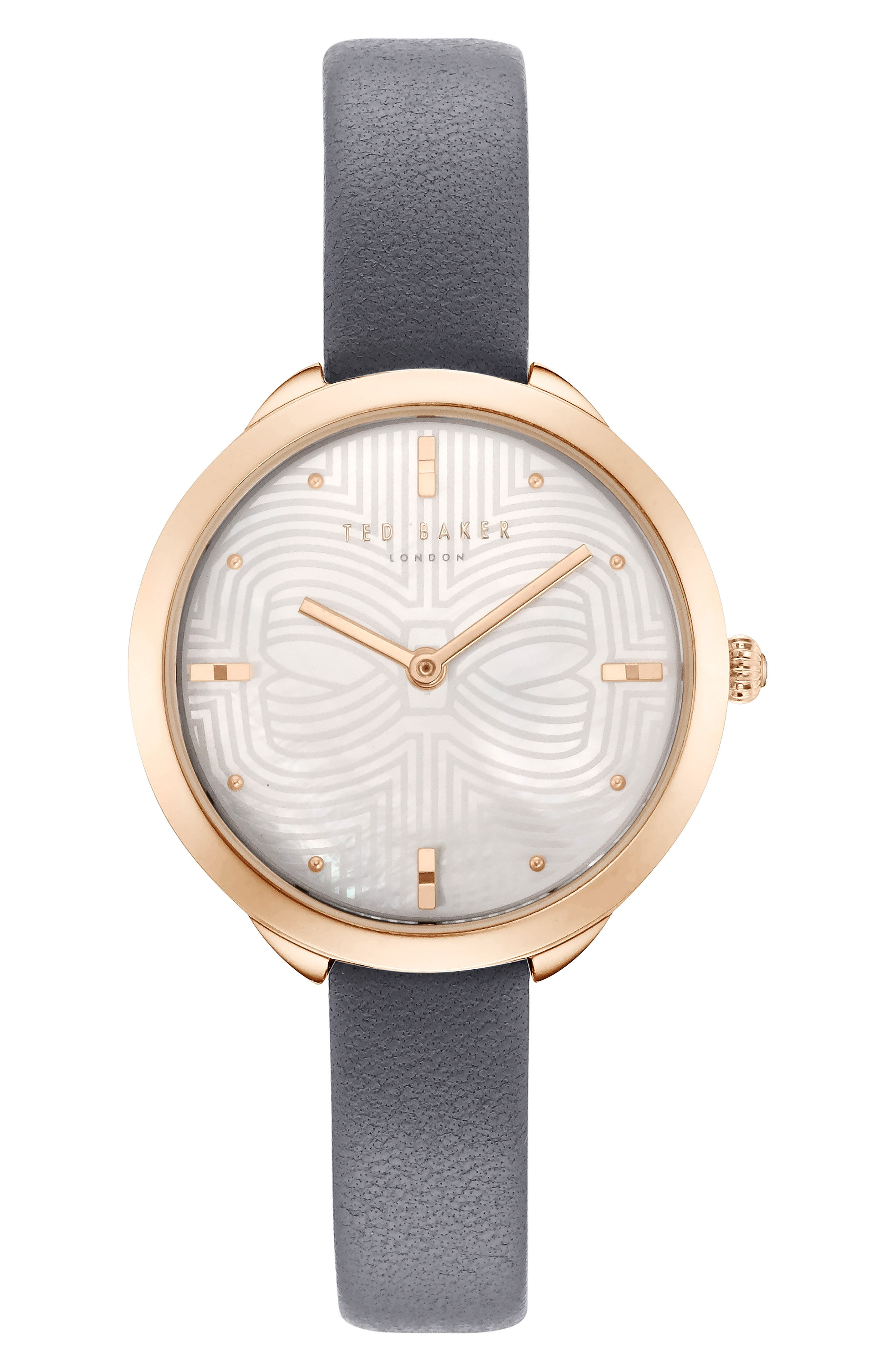 Elena Leather Strap Watch, 30mm,                         Main,                         color, GREY/ MOP/ ROSE GOLD