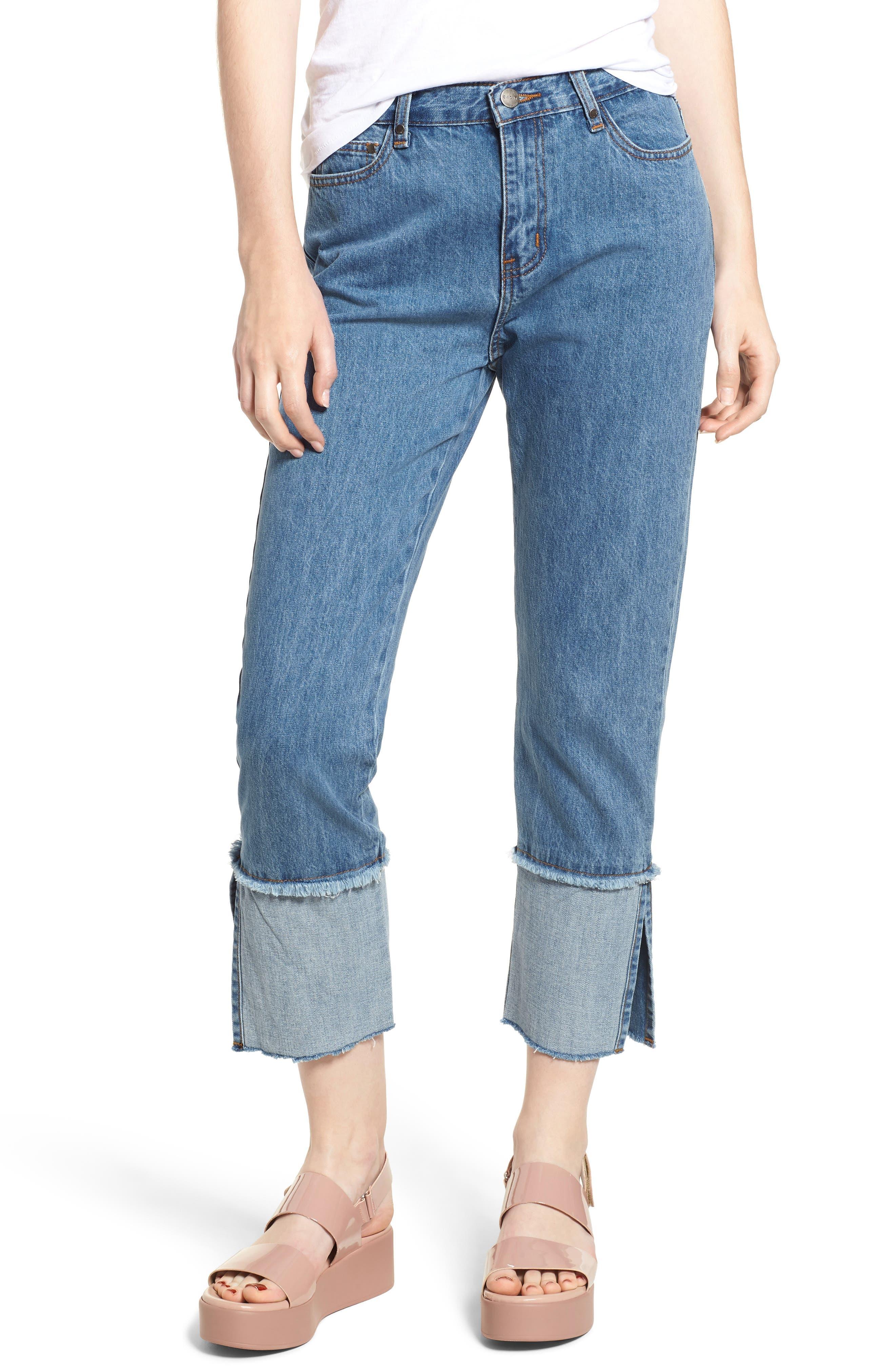 Cuffed Raw Hem Crop Jeans,                             Main thumbnail 1, color,                             FAIRFAX