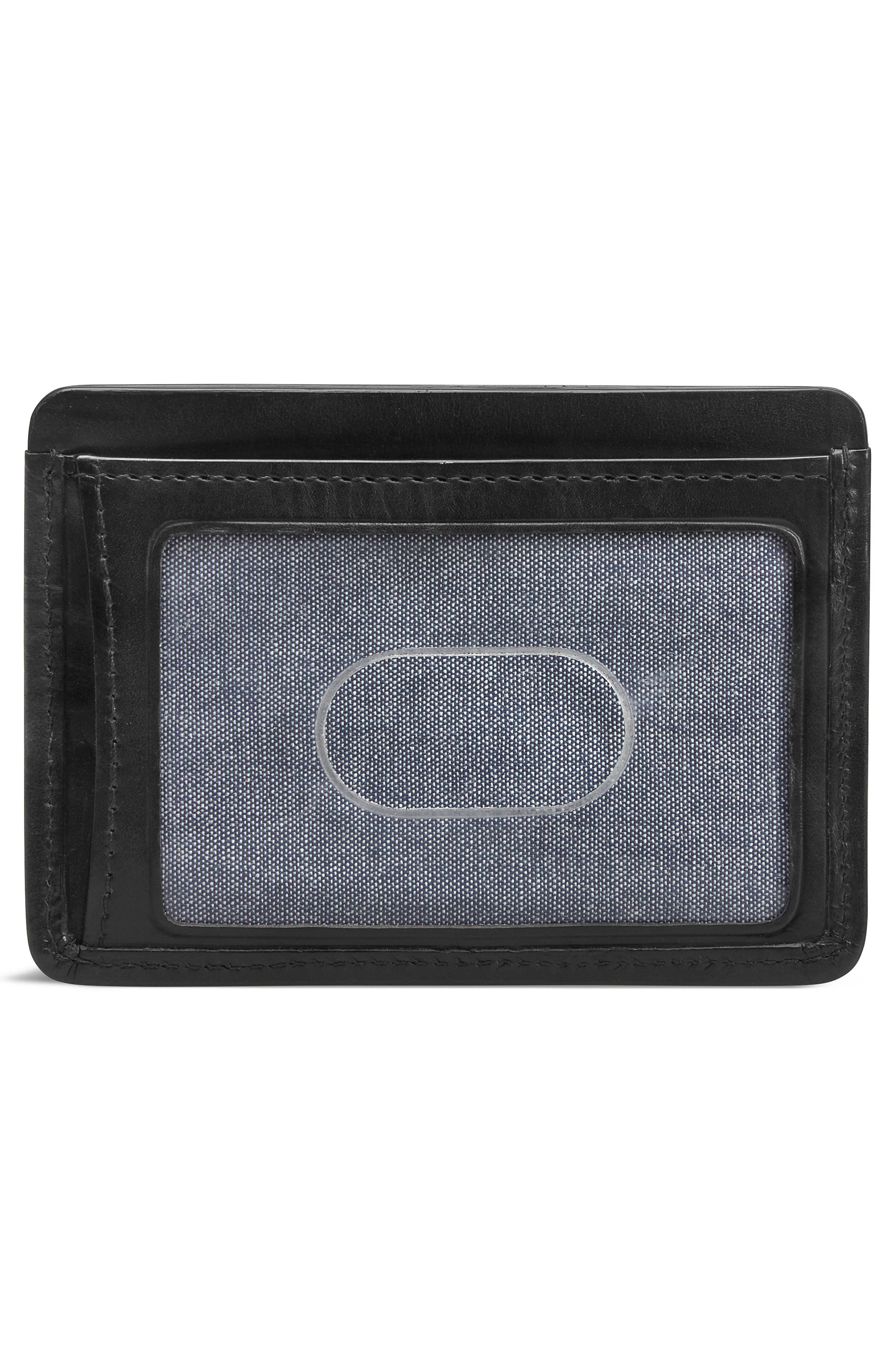 Woven Leather Card Case,                             Alternate thumbnail 2, color,                             BLACK