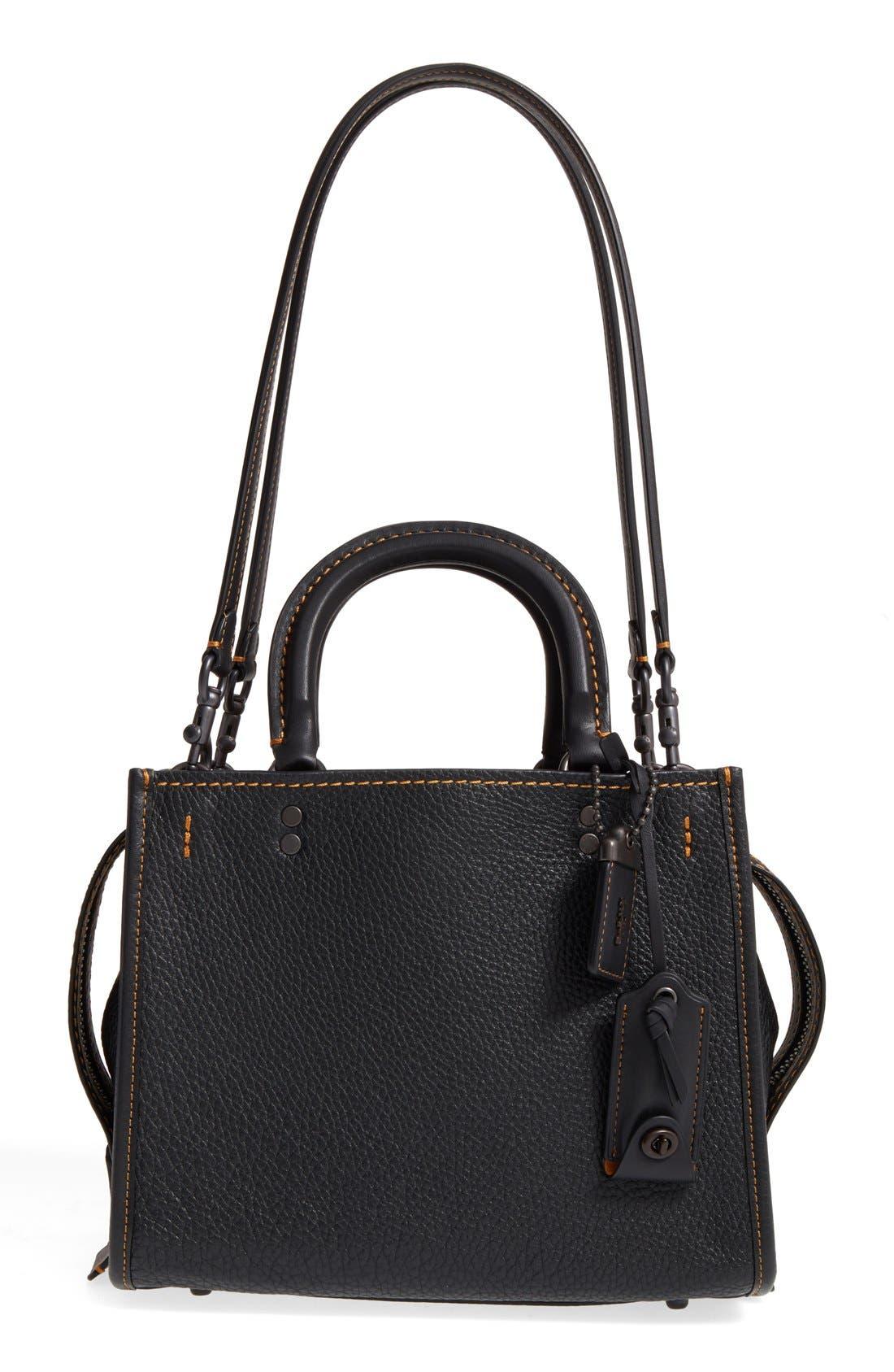 COACH 1941 'Rogue 25' Leather Satchel, Main, color, BLACK