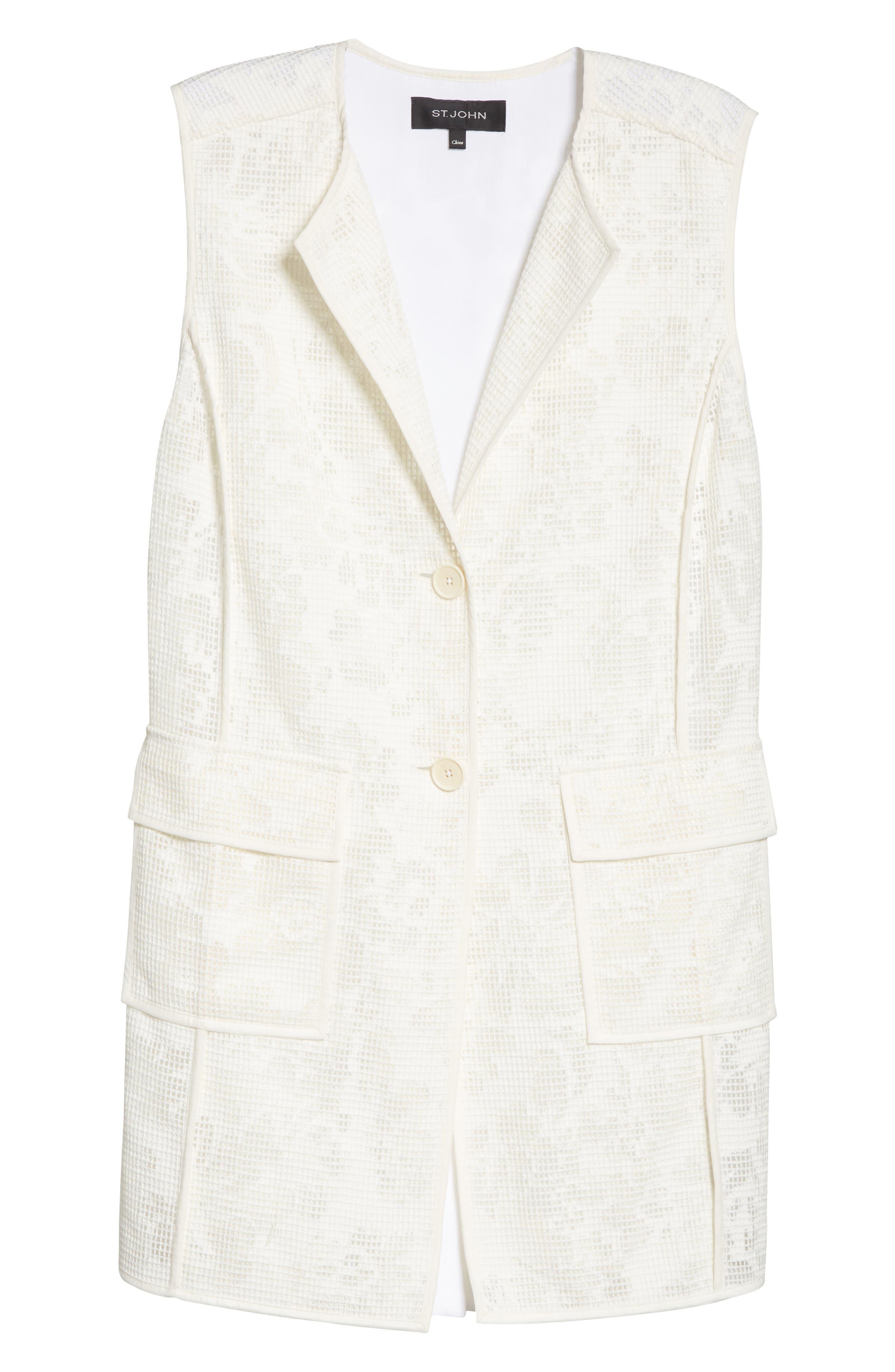 Burnout Netting Vest,                             Alternate thumbnail 5, color,                             CREAM/ BIANCO