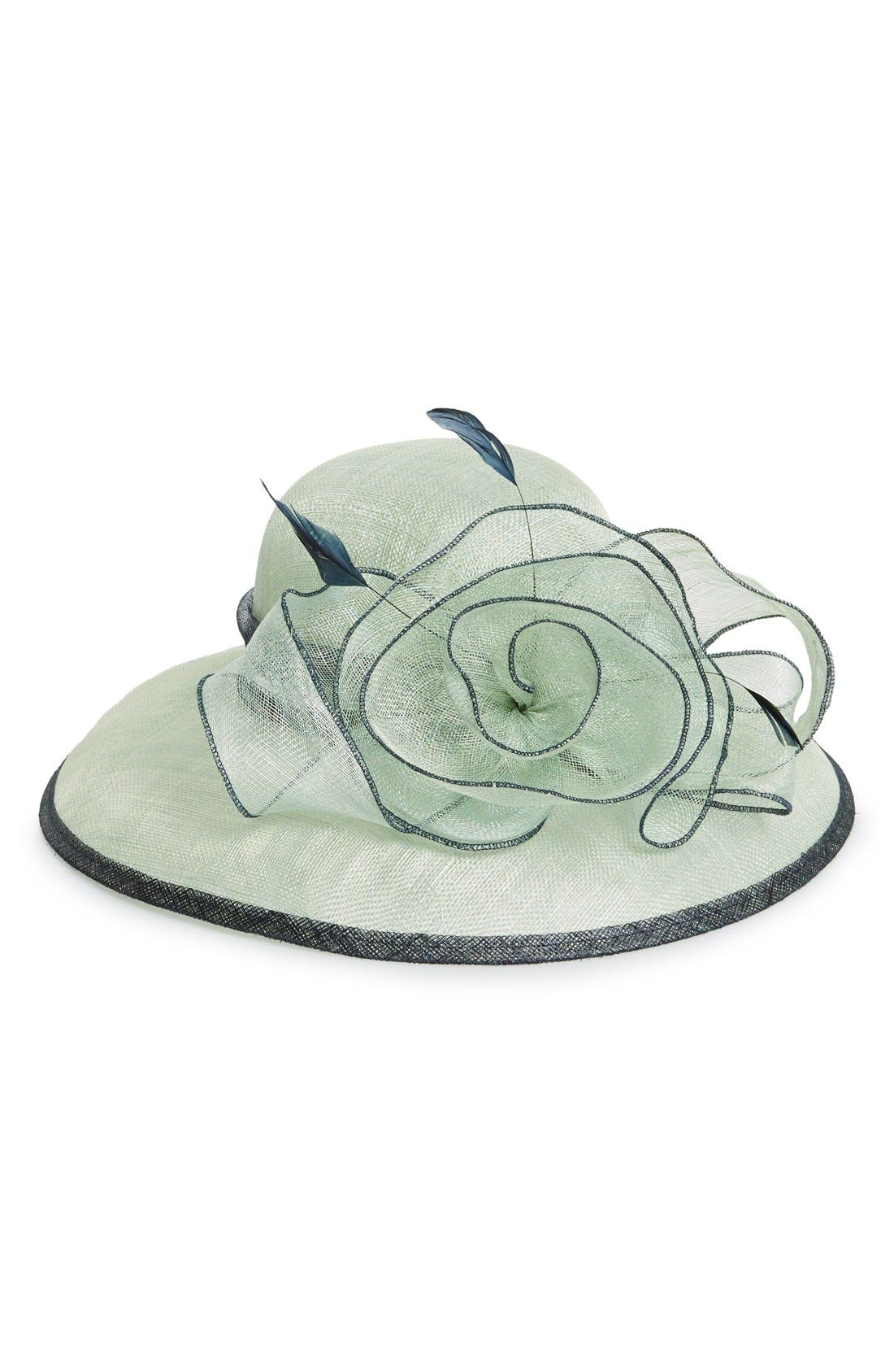 'To the Races' Floral Downbrim Hat,                             Main thumbnail 1, color,                             300
