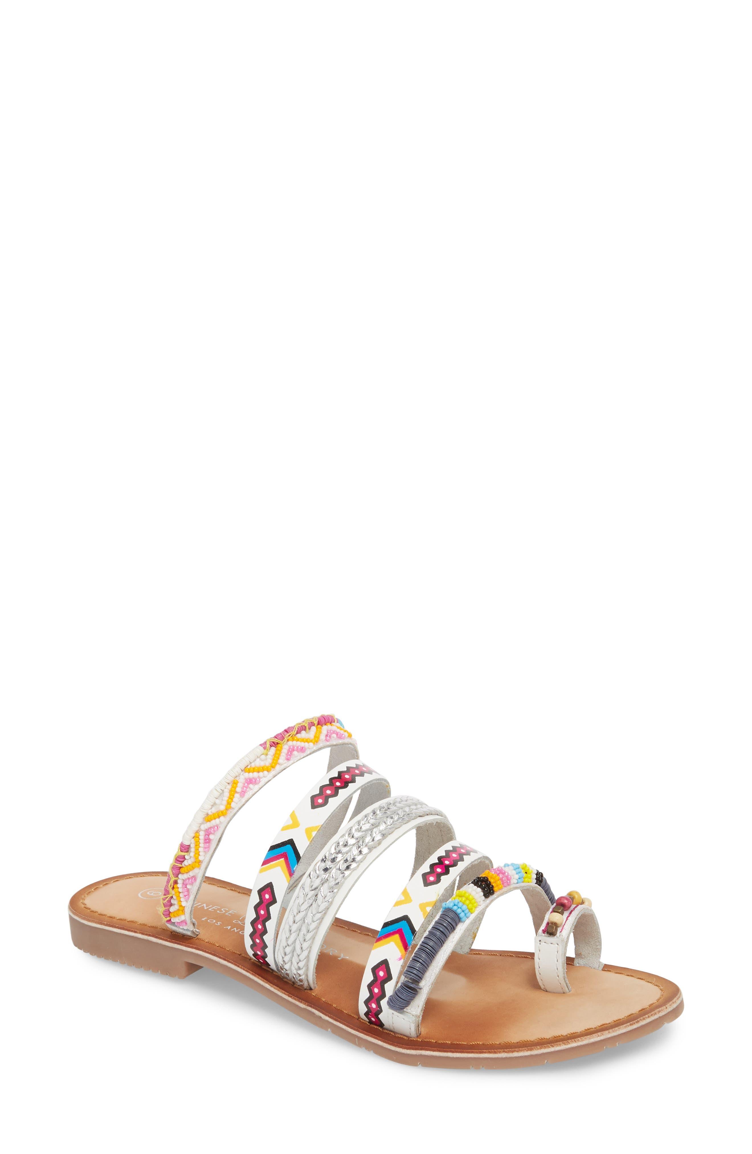 Pandora Embellished Slide Sandal,                             Main thumbnail 1, color,                             100