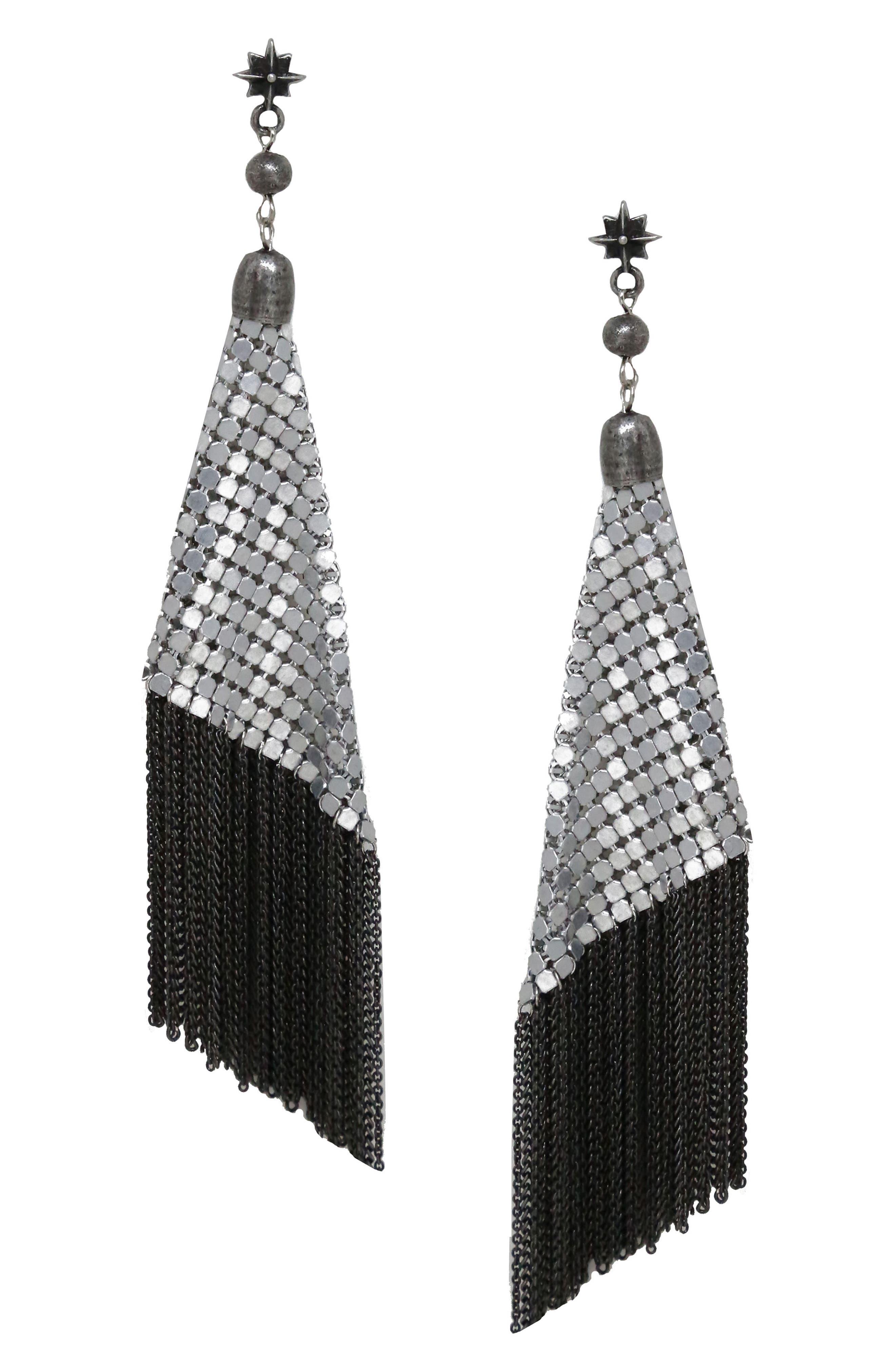 Star Charm Mesh Drop Earrings,                         Main,                         color, 040