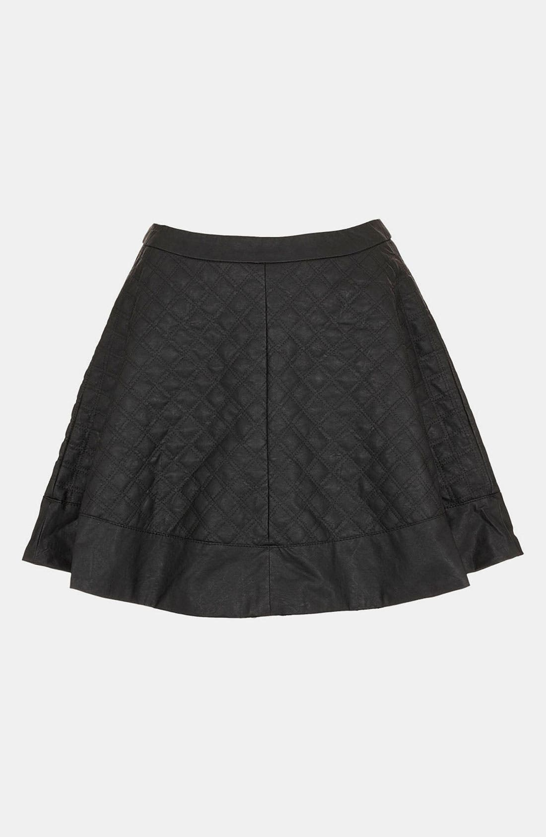 Quilted Faux Leather Skater Skirt,                         Main,                         color, 001