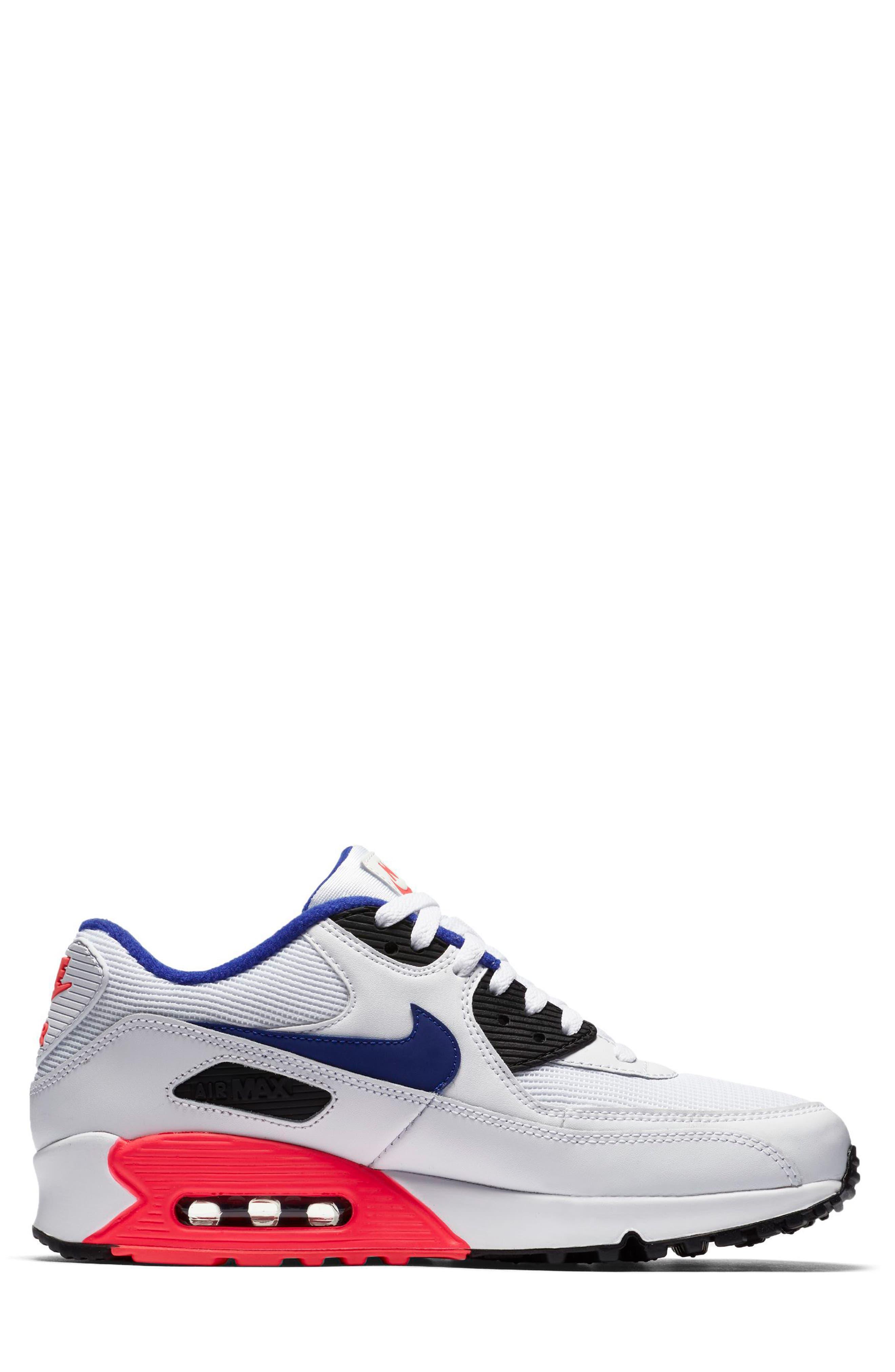 Air Max 90 Essential Sneaker,                             Alternate thumbnail 3, color,                             WHITE/ ULTRAMARINE