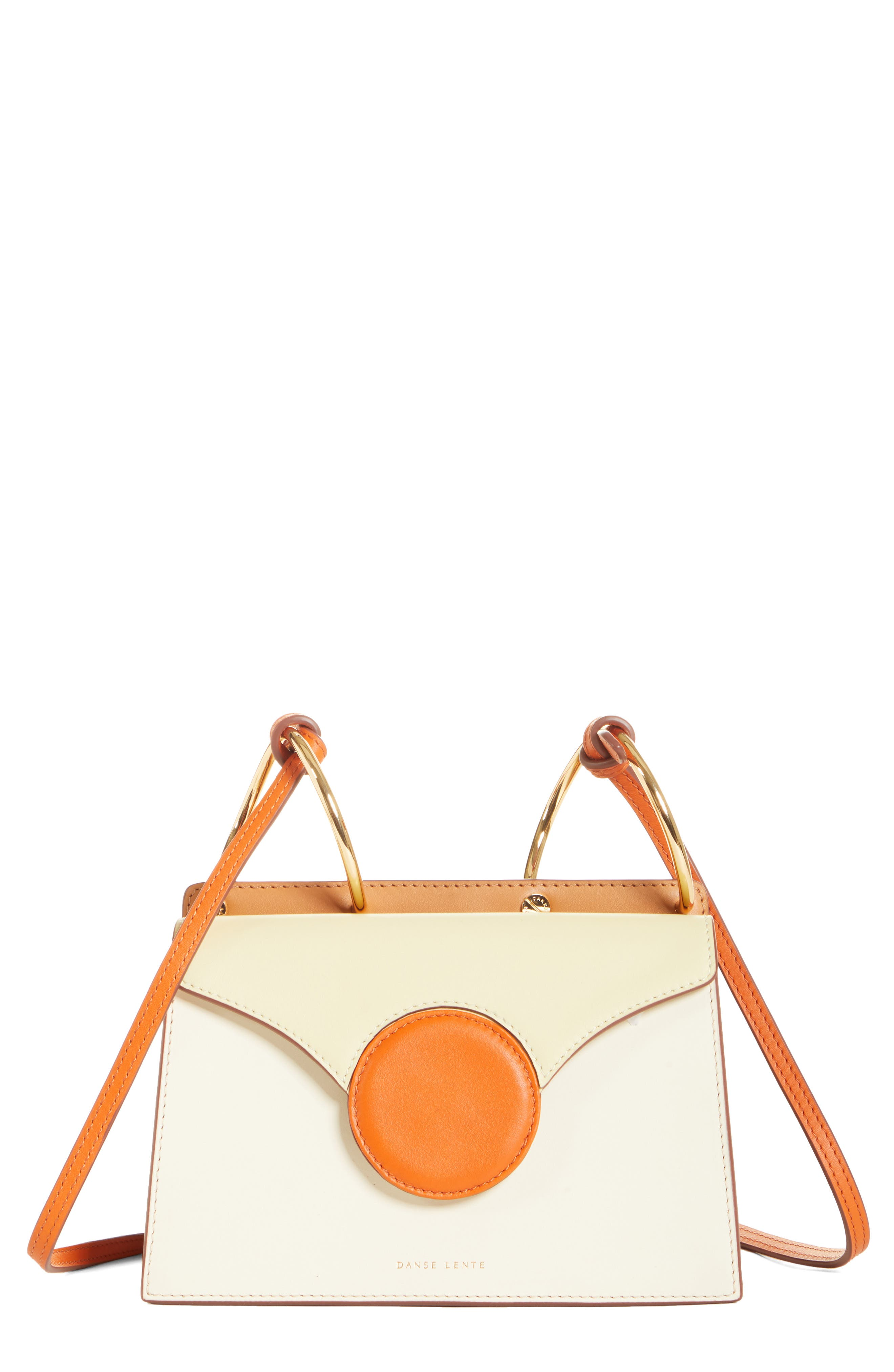 DANSE LENTE Mini Phoebe Leather Bag, Main, color, TOFFEE/ MARSHMALLOW