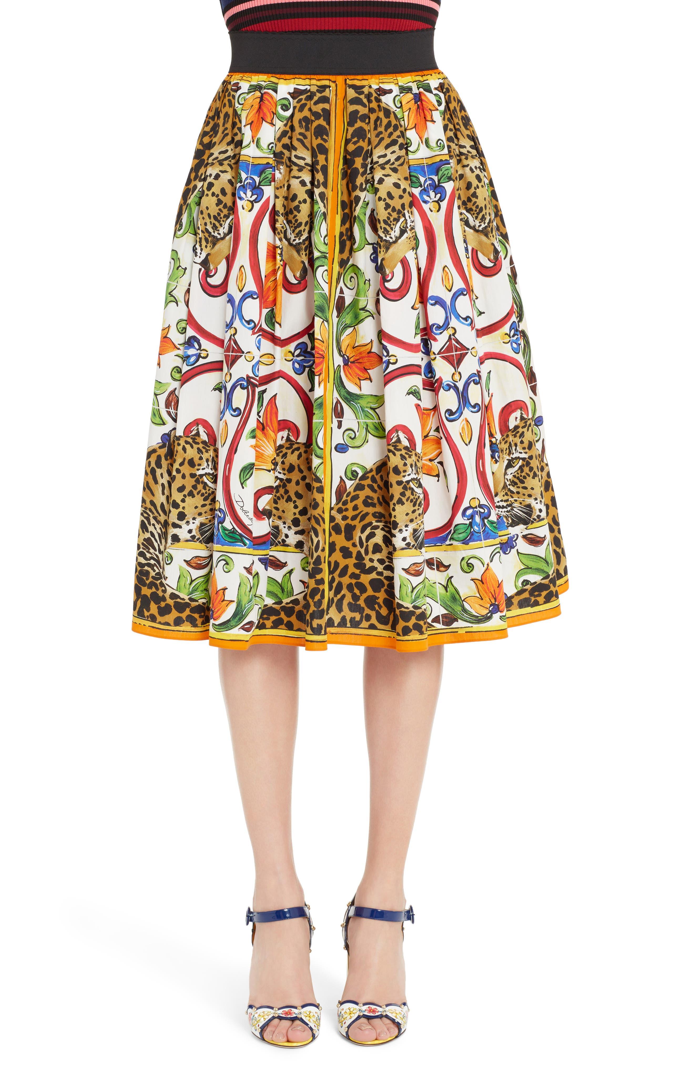 Maiolica Print Cotton Skirt,                             Main thumbnail 1, color,                             115