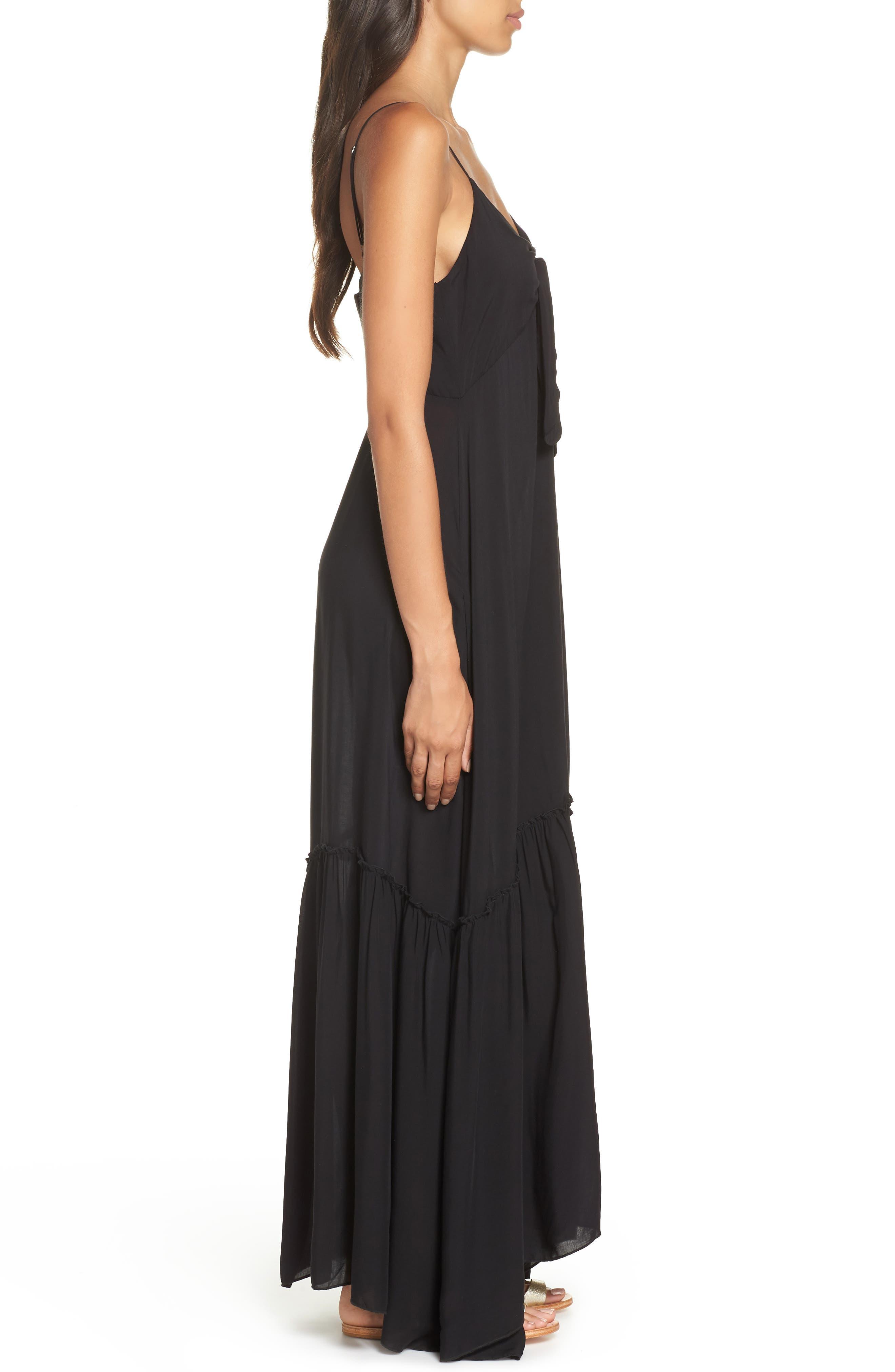 Maxi Cover-Up Dress,                             Alternate thumbnail 3, color,                             BLACK