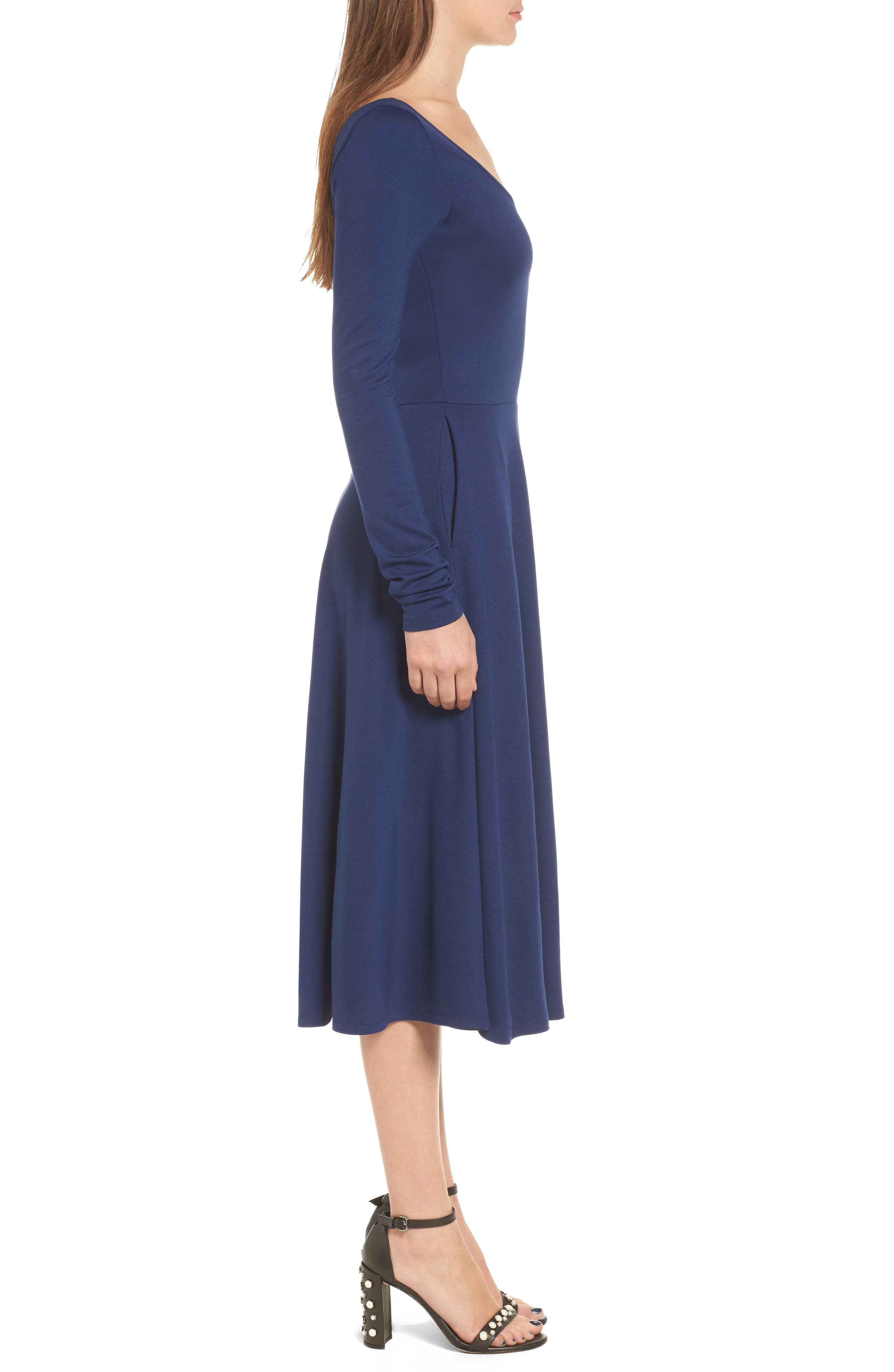 Long Sleeve Midi Dress,                             Alternate thumbnail 6, color,