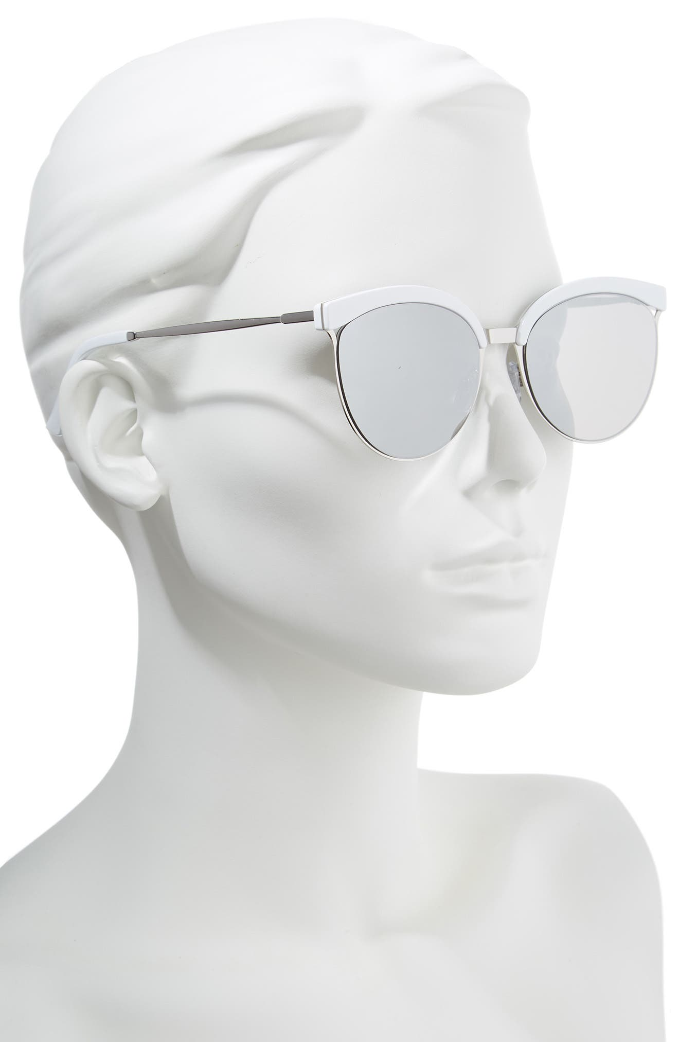 57mm Round Sunglasses,                             Alternate thumbnail 2, color,                             WHITE/ SILVER