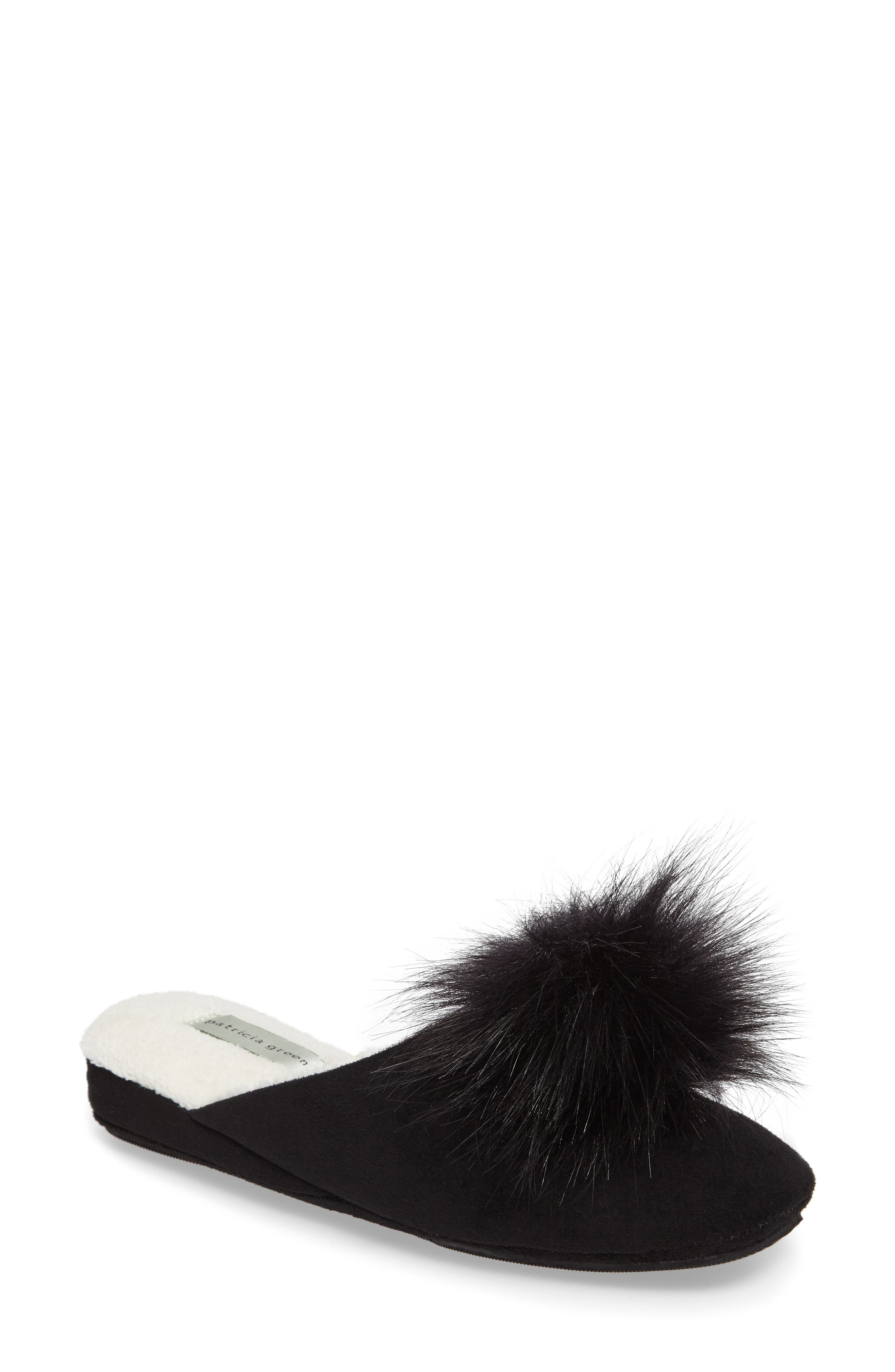Pretty Pouf Slipper,                         Main,                         color, BLACK SUEDE