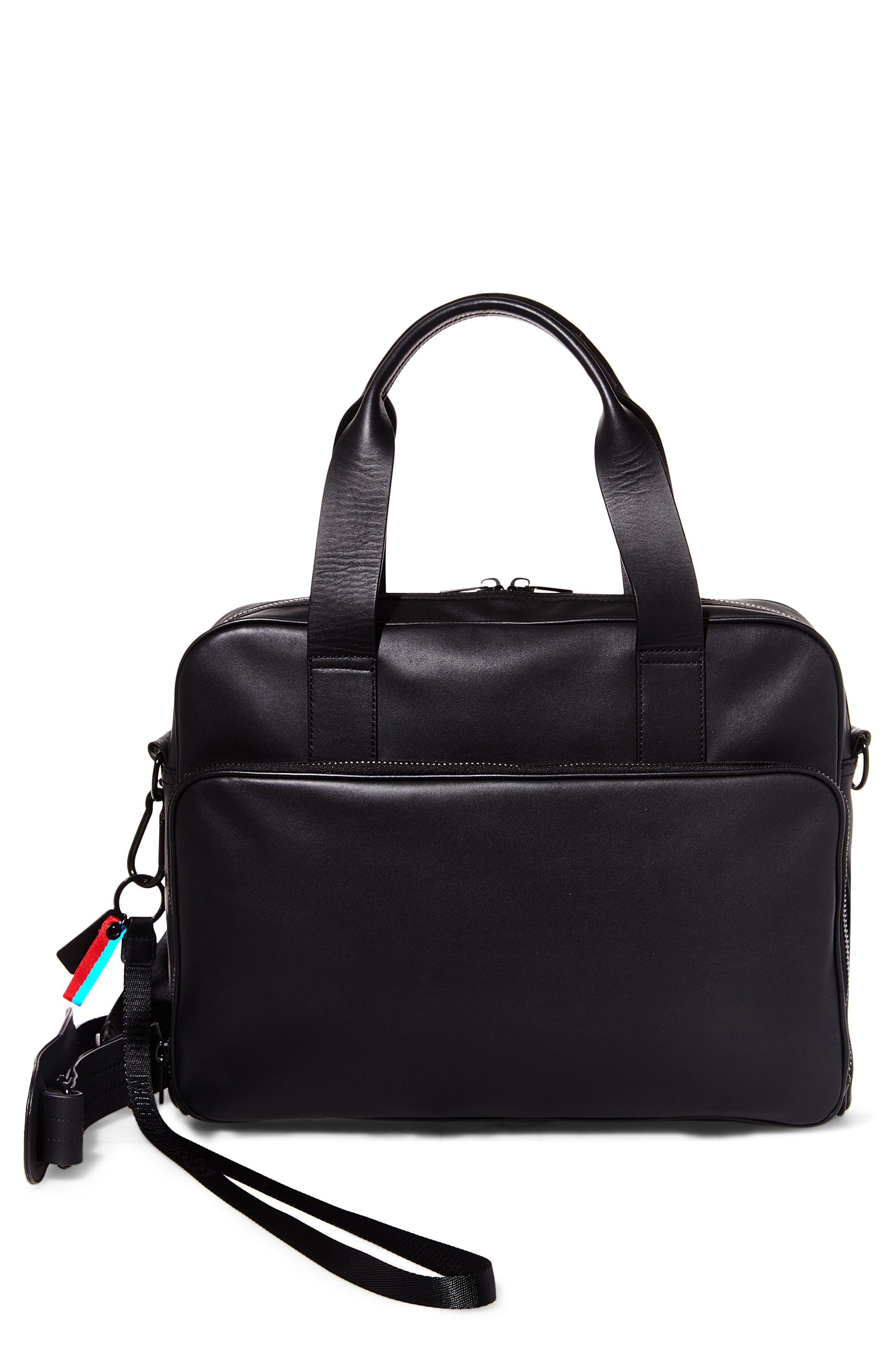 GQ x Steve Madden Leather Computer Bag,                             Main thumbnail 1, color,                             001