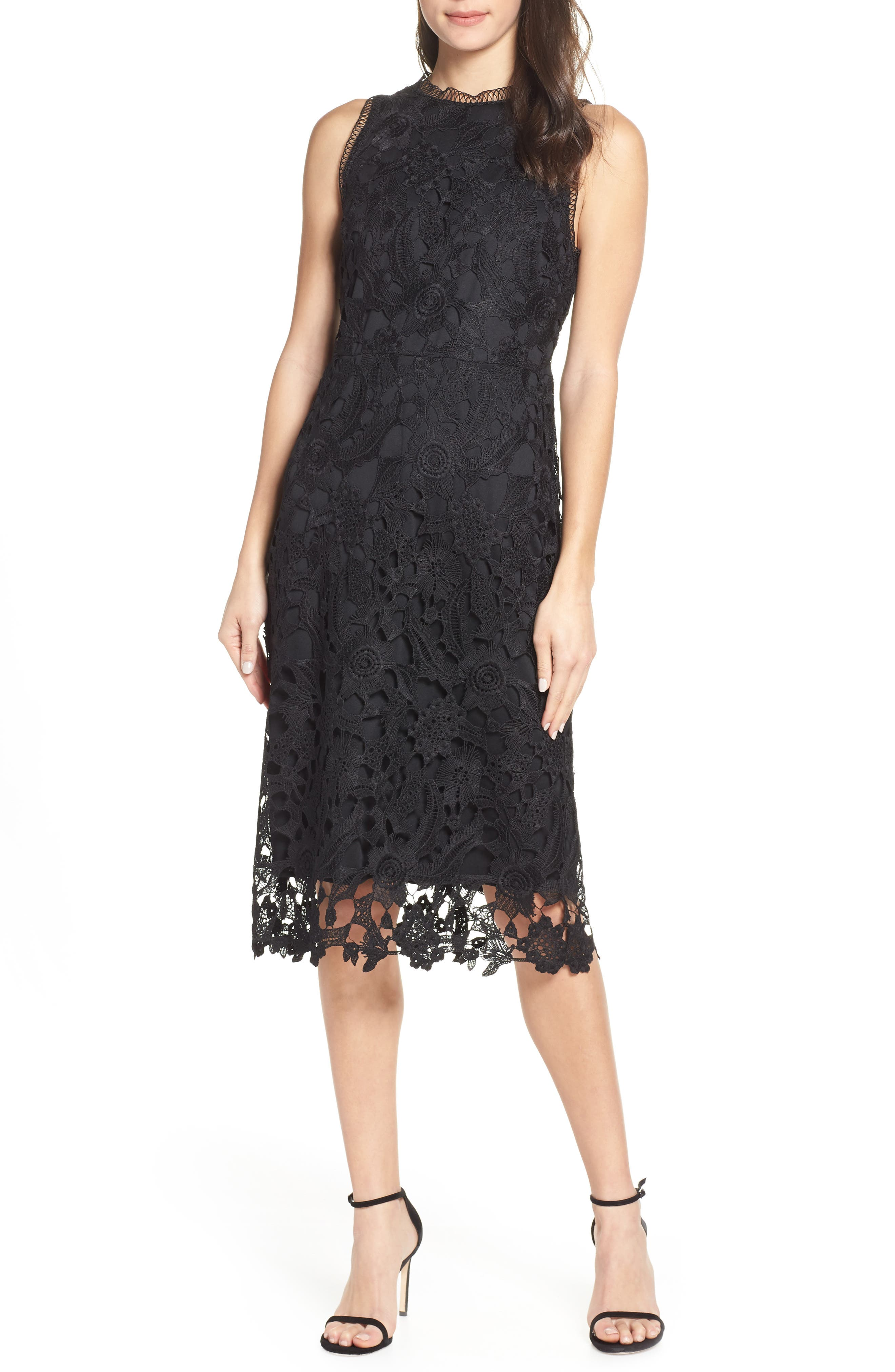 Sam Edelman Lace Midi Dress, Black