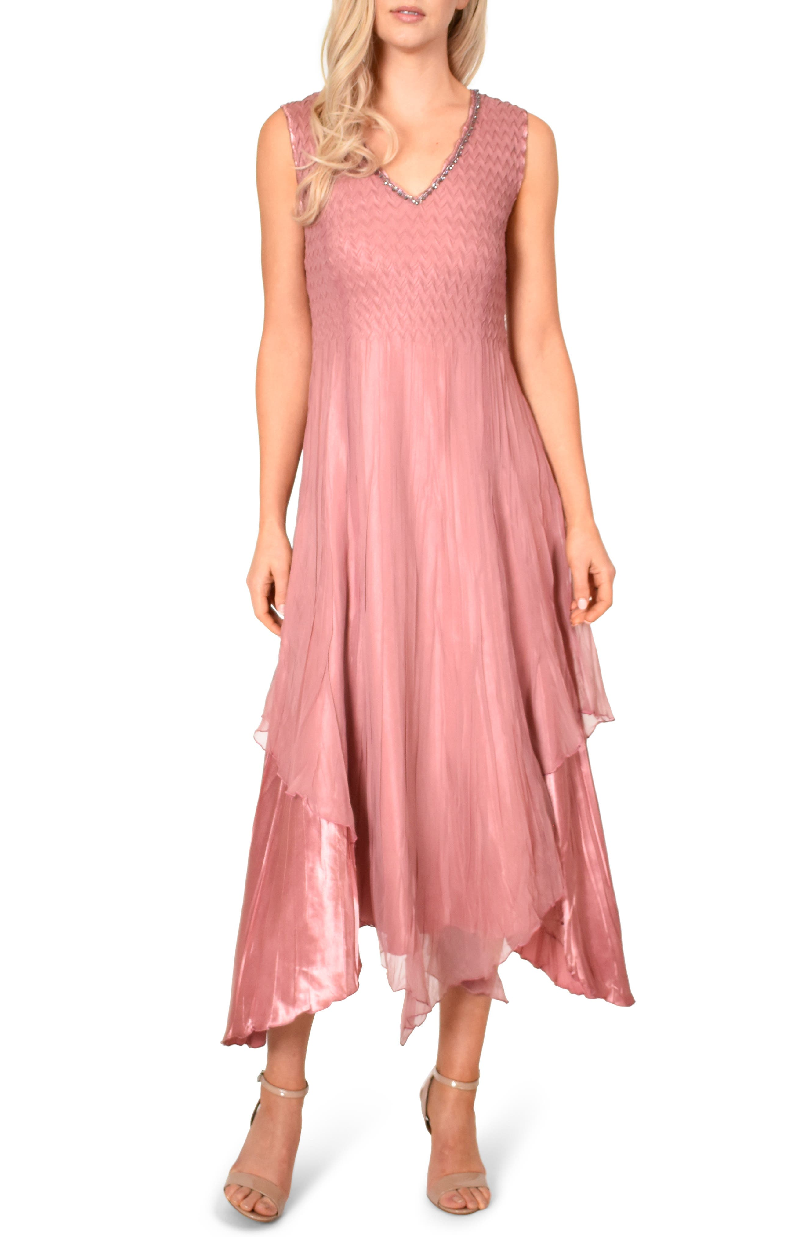 Komarov New Chiffon Sleeveless Evening Dress With Shawl, Pink