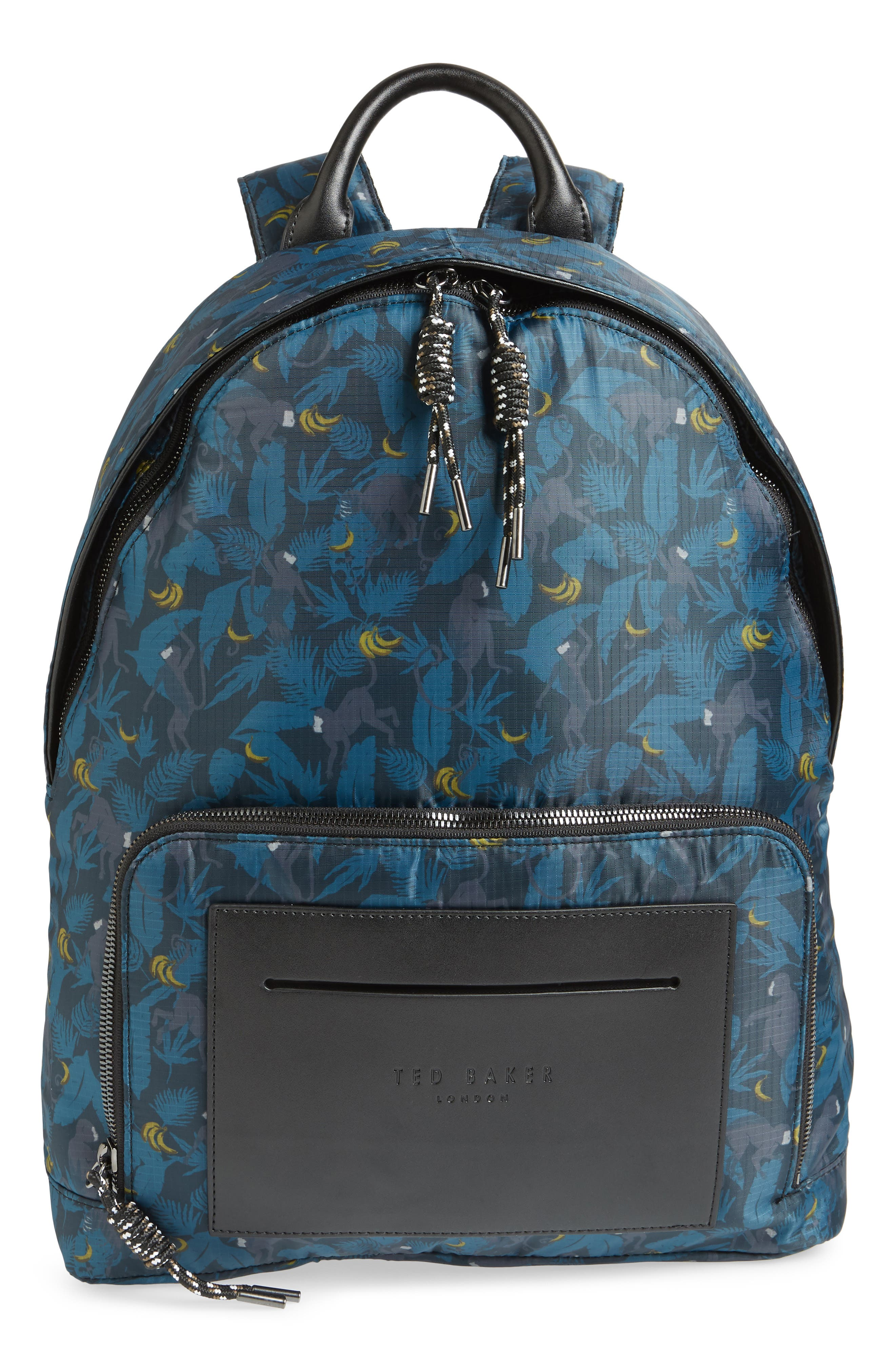 Primate Print Backpack,                         Main,                         color, NAVY