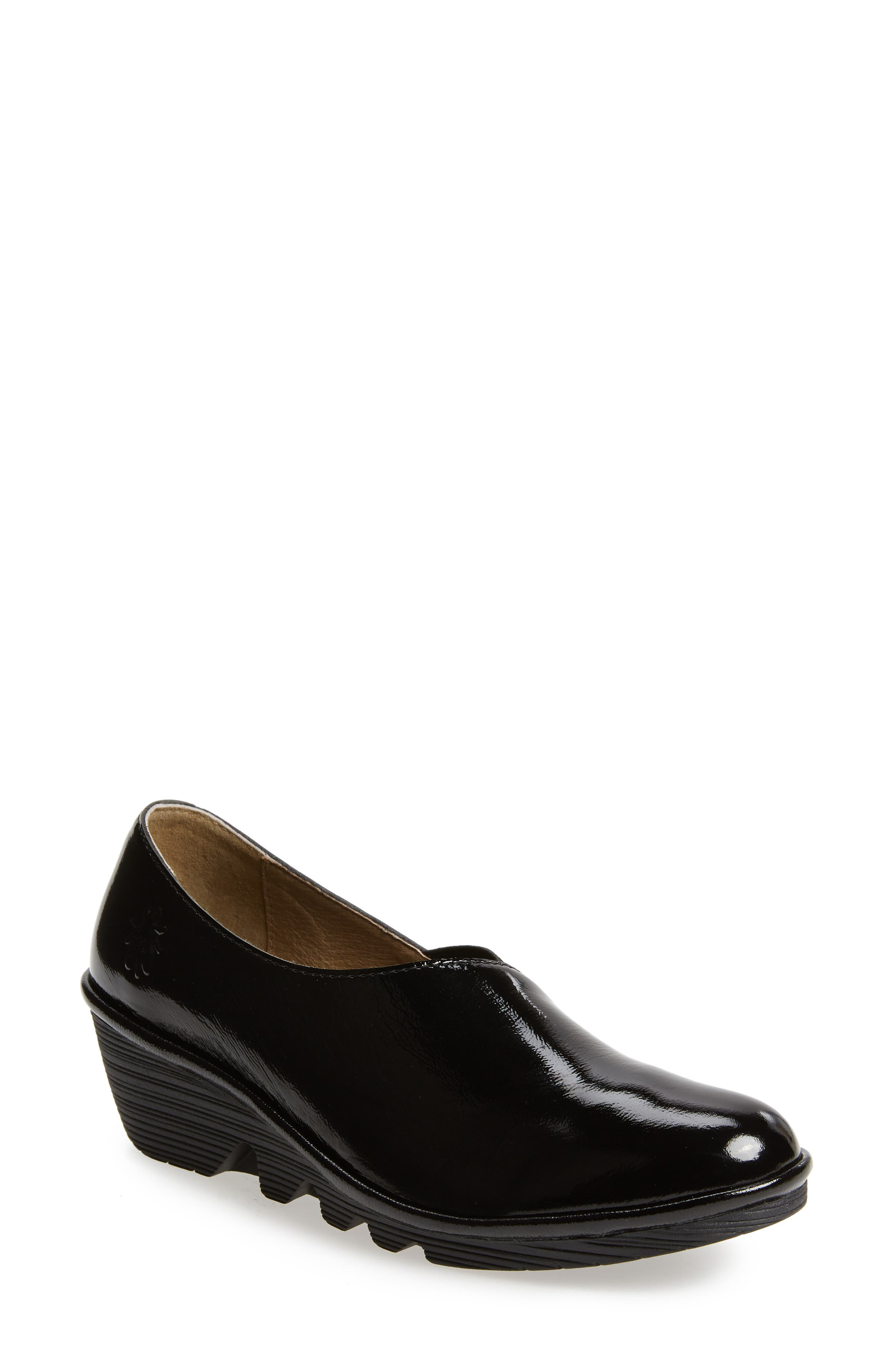 FLY LONDON Peso Wedge, Main, color, BLACK PATENT
