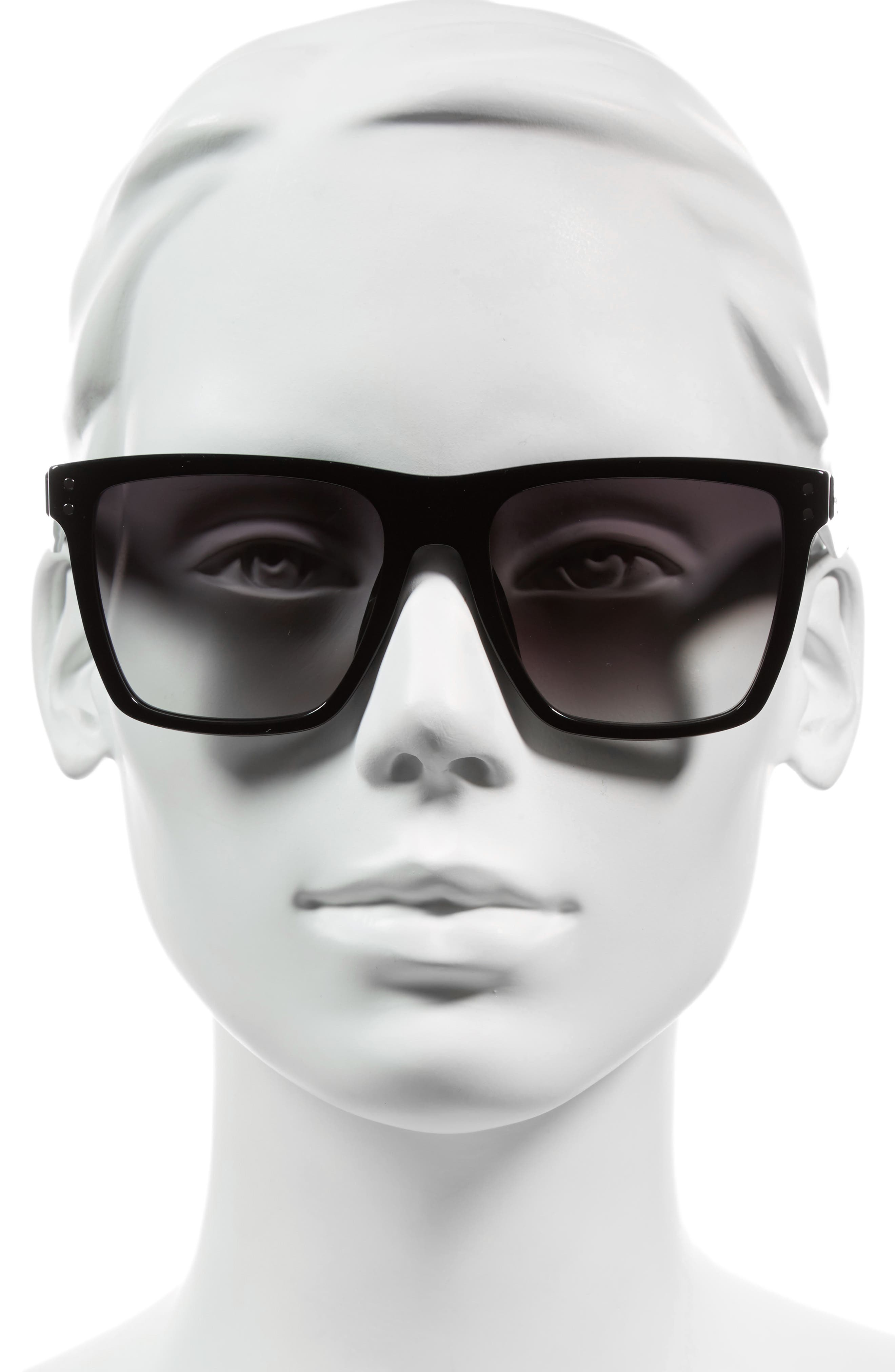 54mm Flat Top Gradient Square Frame Sunglasses,                             Alternate thumbnail 3, color,                             001