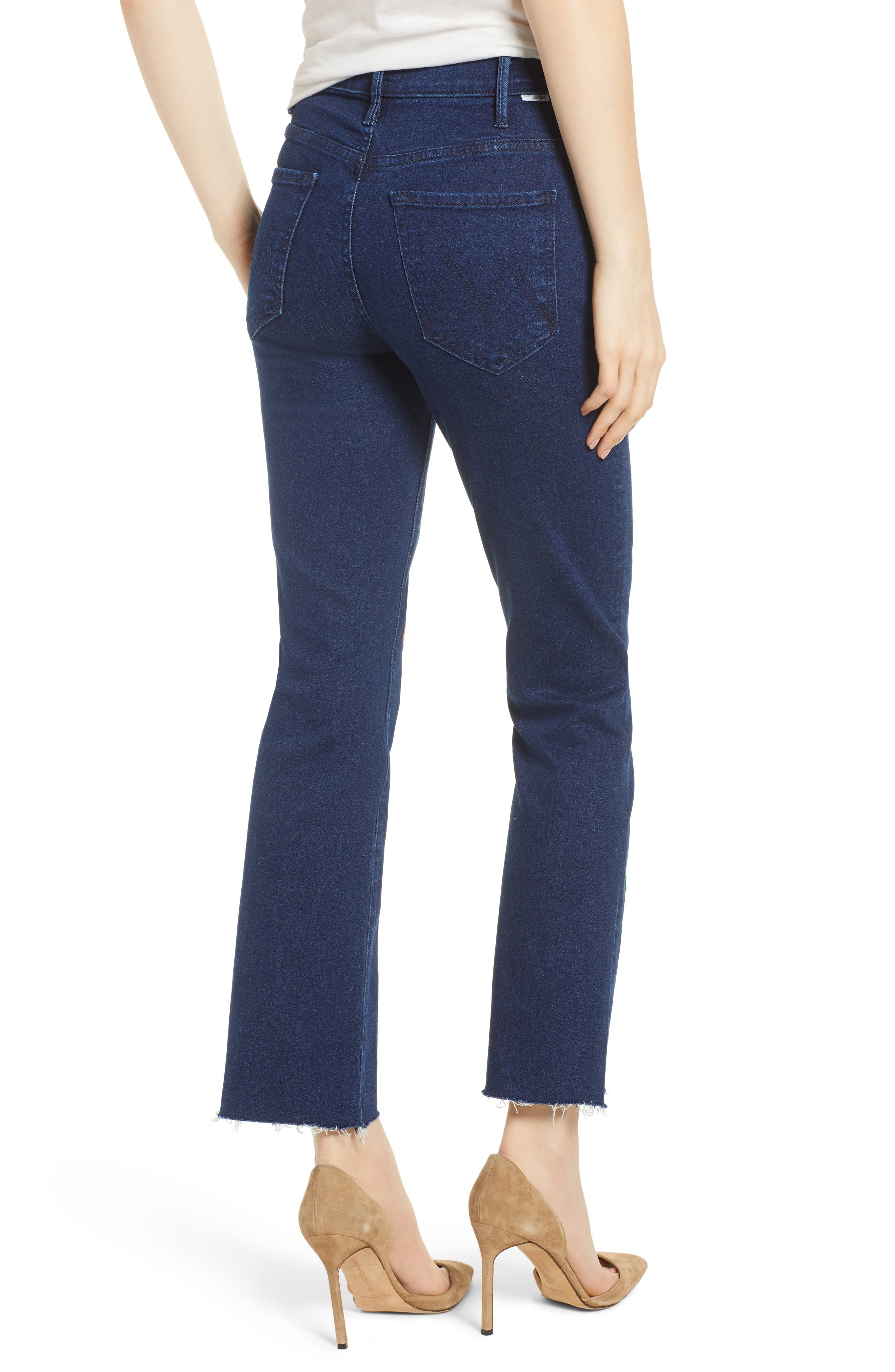 The Hustler Embroidered Fray Ankle Bootcut Jeans,                             Alternate thumbnail 2, color,                             001