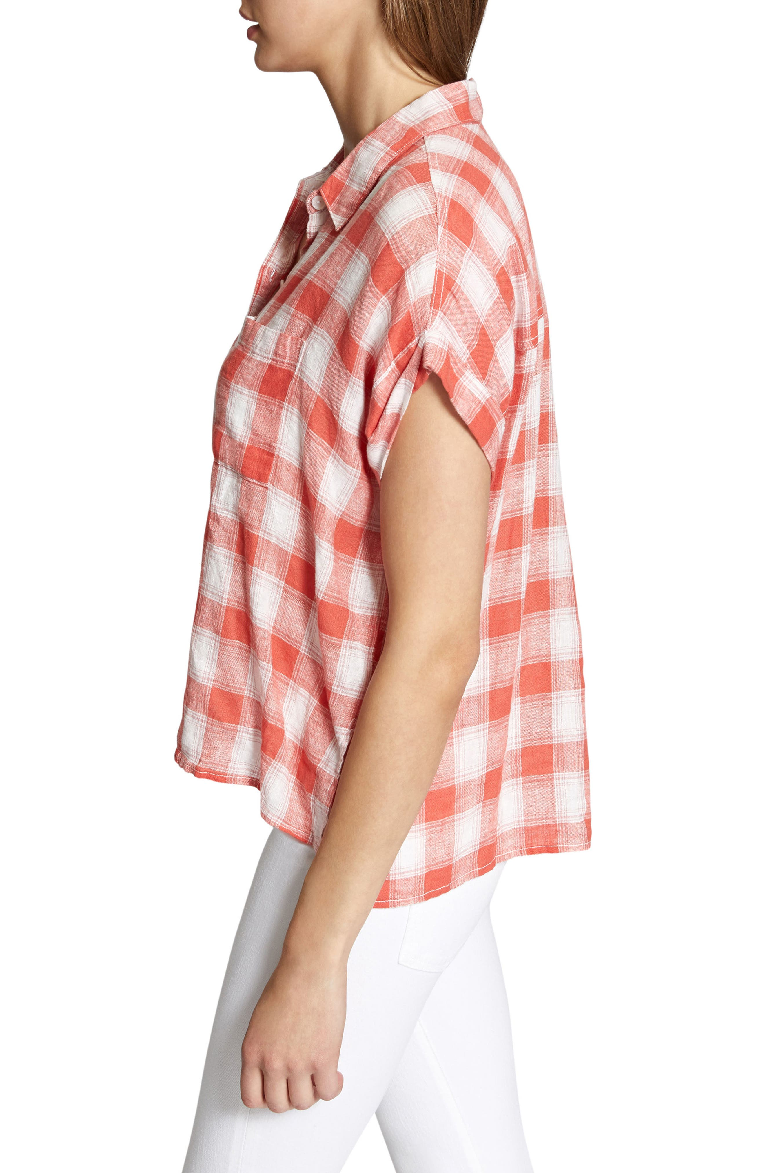 Mod Short Sleeve Boyfriend Shirt,                             Alternate thumbnail 21, color,