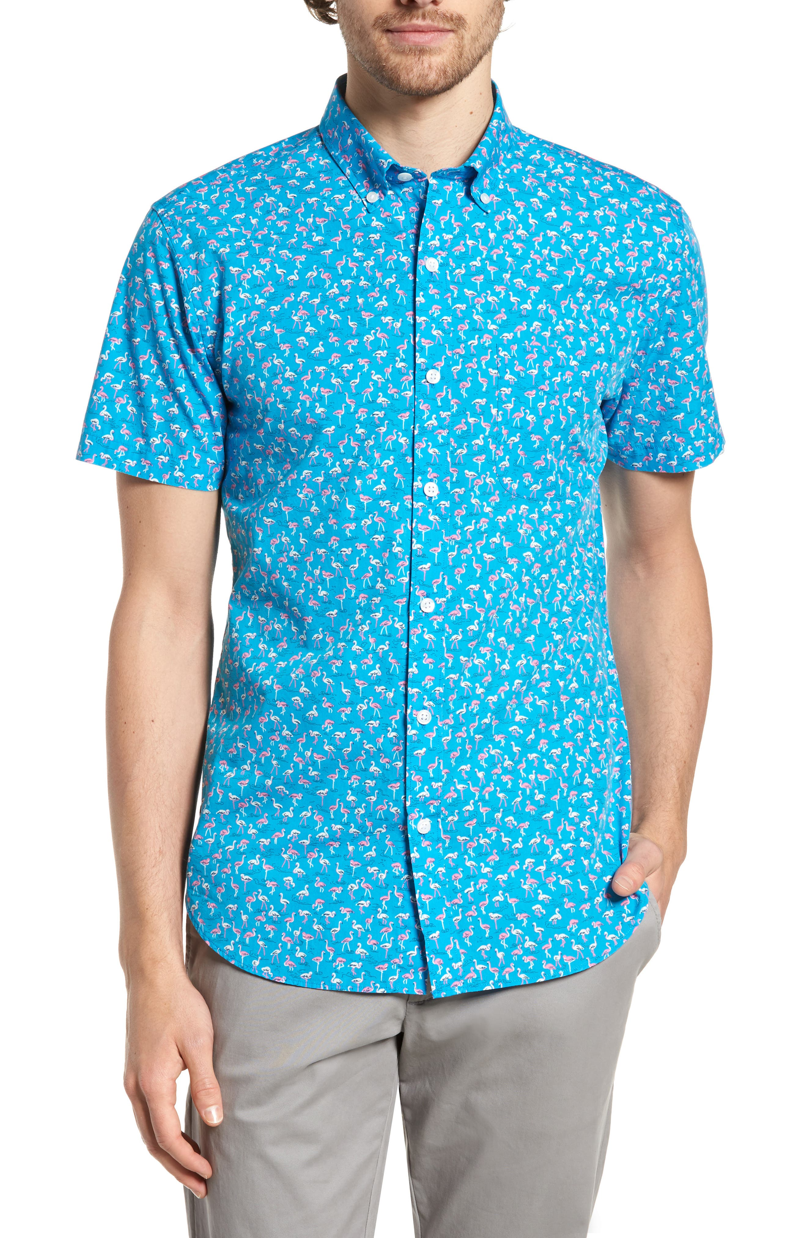 Slim Fit Print Short Sleeve Sport Shirt,                             Main thumbnail 1, color,