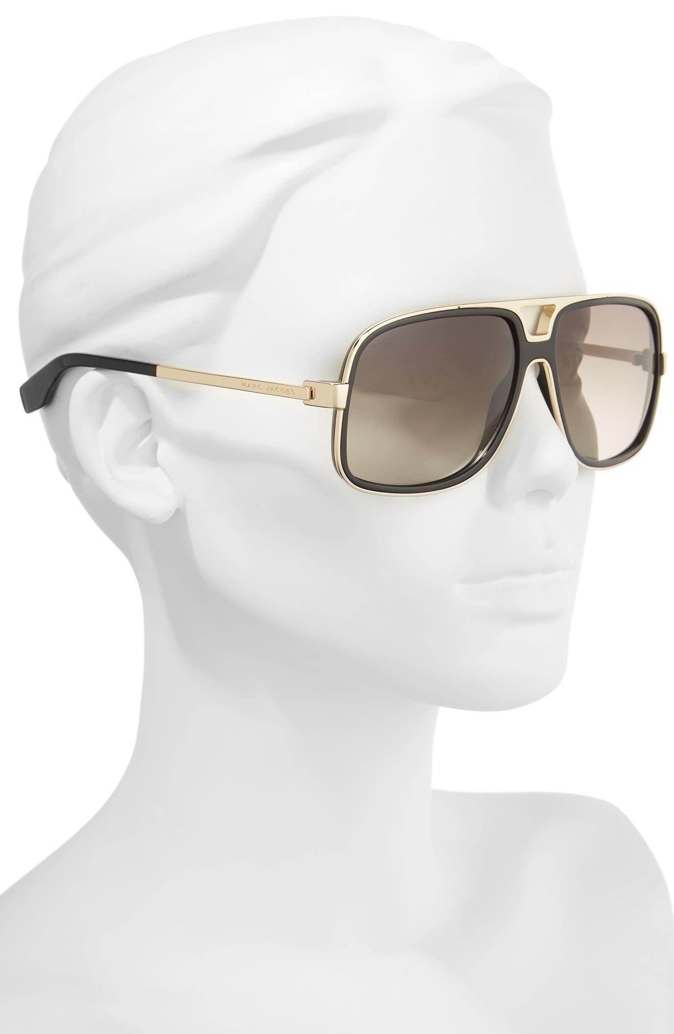 60mm Gradient Lens Aviator Sunglasses,                             Alternate thumbnail 2, color,                             BLACK