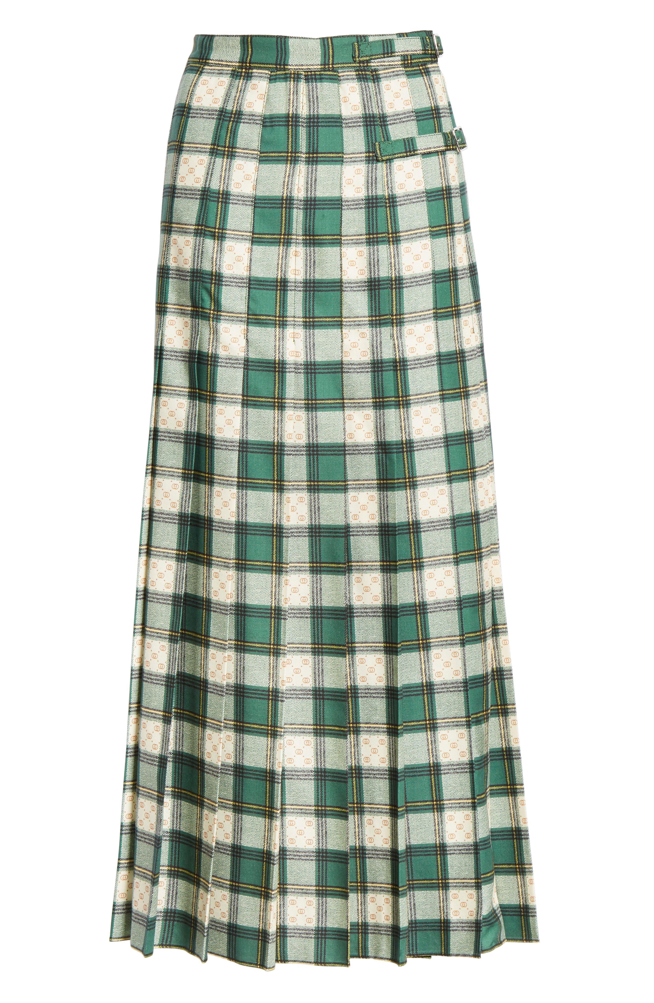 Tartan Check Wool Twill Maxi Skirt,                             Alternate thumbnail 3, color,                             3741 GREEN/ ROSE BEIGE PRI