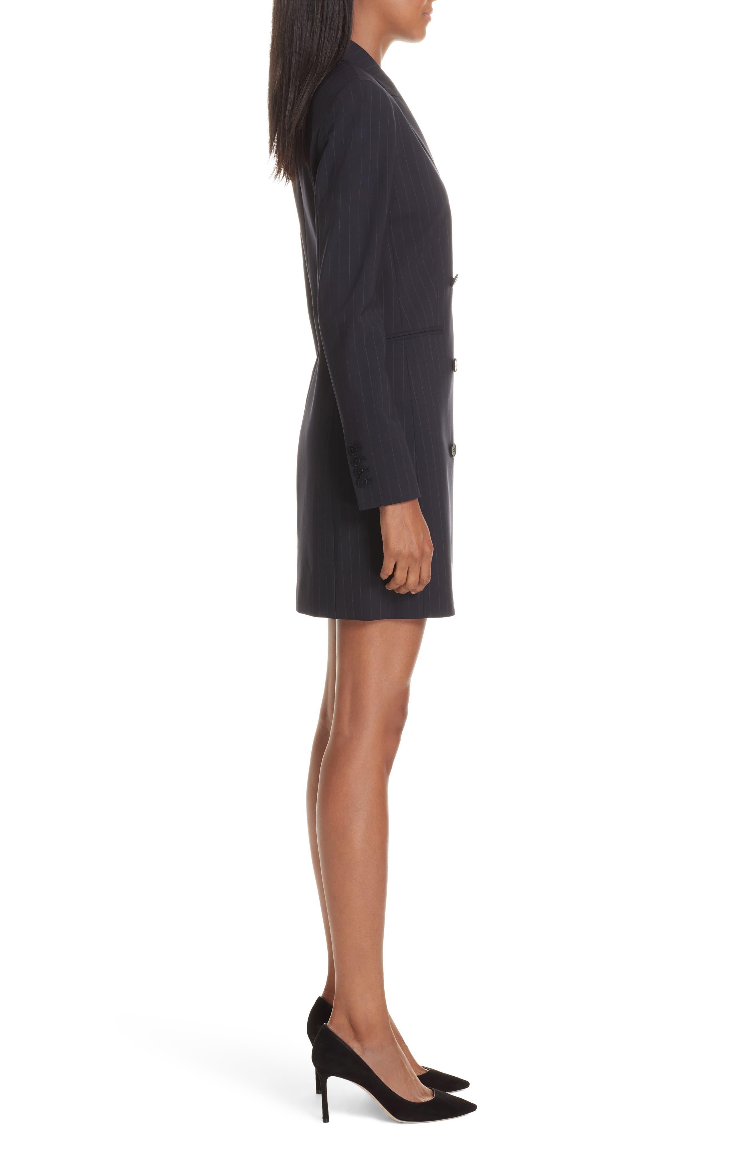Pinstripe Blazer Dress,                             Alternate thumbnail 3, color,                             DEEP NAVY/ GREY