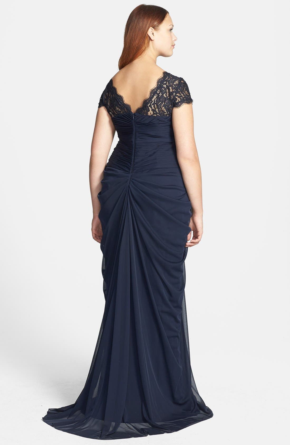 Lace Yoke Drape Mesh Gown,                             Alternate thumbnail 2, color,                             411