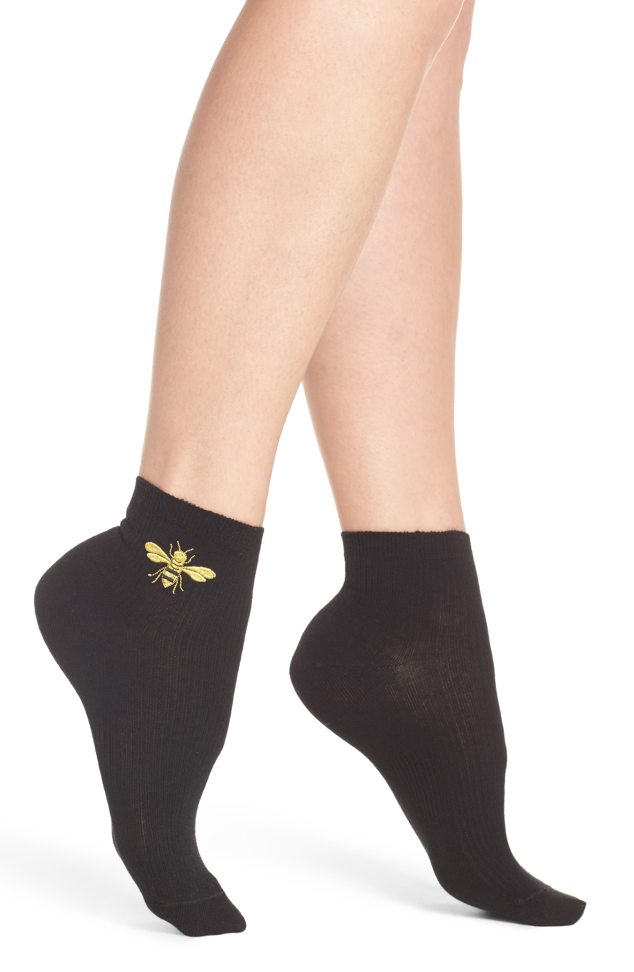 Embroidered Ankle Socks,                         Main,                         color, 001