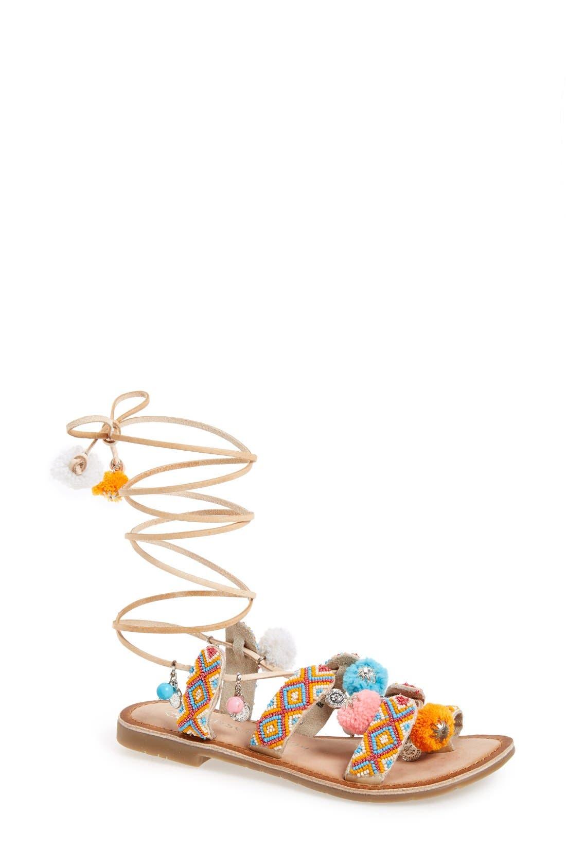 'Posh' Embellished Lace-Up Sandal,                             Main thumbnail 2, color,