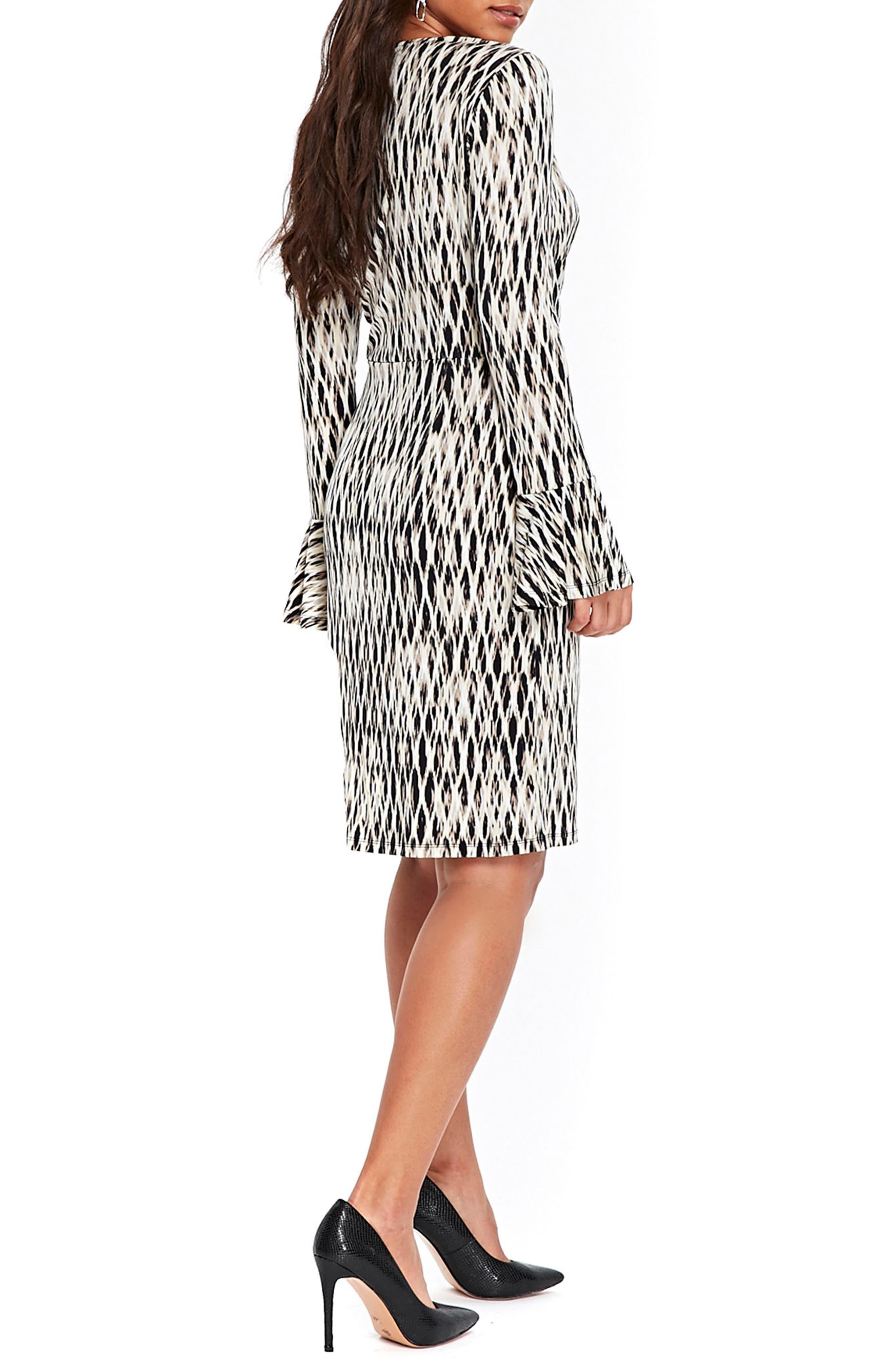 Geo Print Bell Sleeve Wrap Dress,                             Alternate thumbnail 2, color,                             001