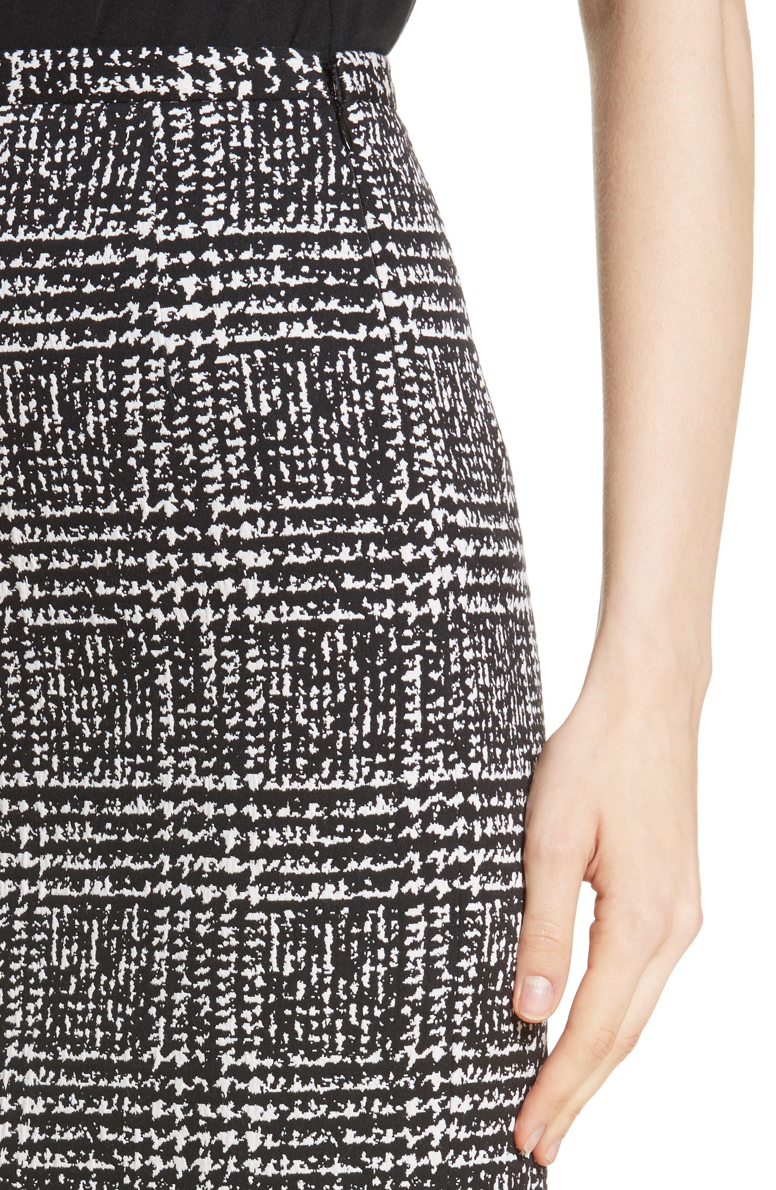Glen Plaid Stretch Jacquard Skirt,                             Alternate thumbnail 4, color,                             001