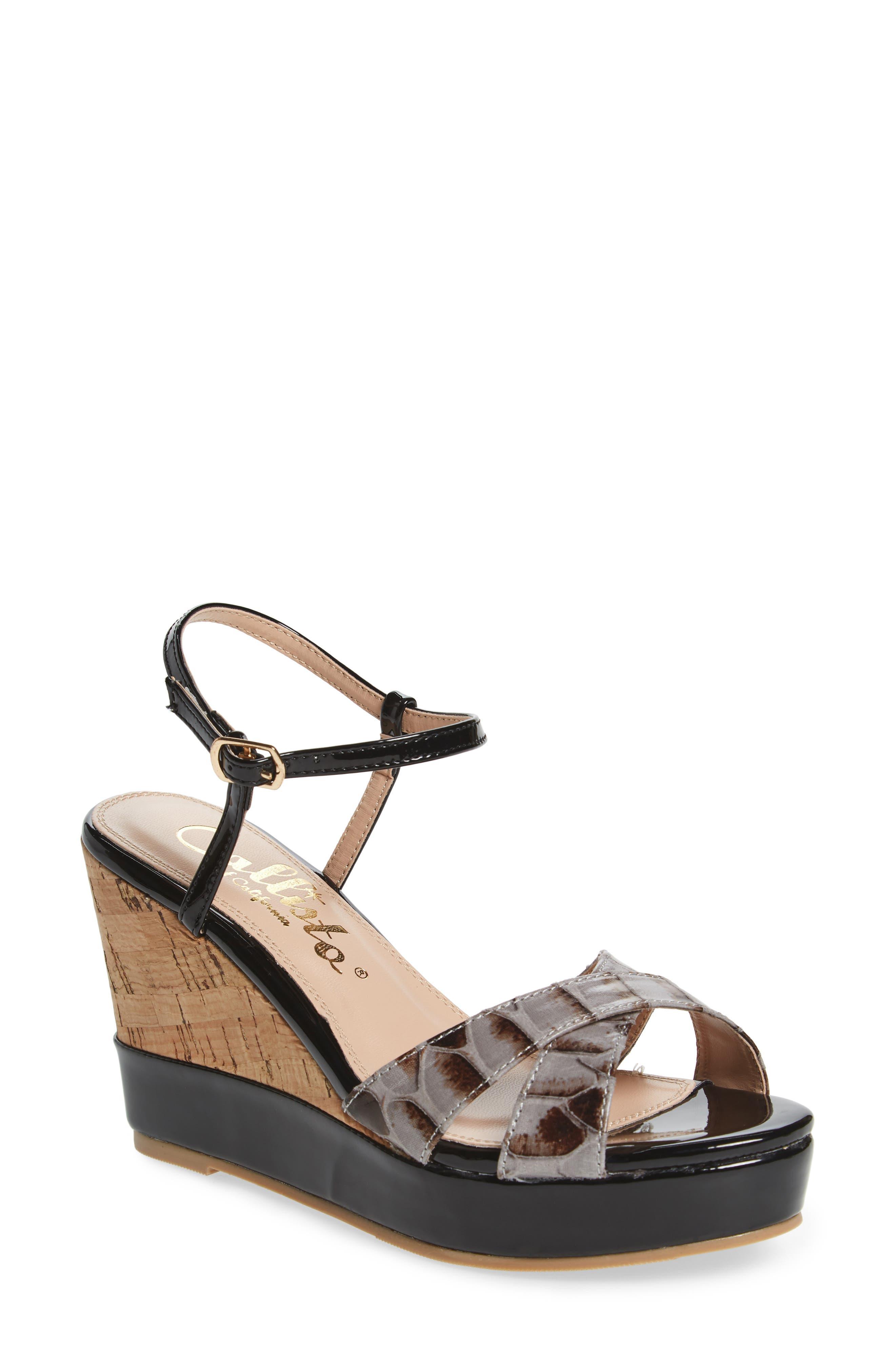 Lottie Platform Wedge Sandal,                         Main,                         color, BLACK SYNTHETIC