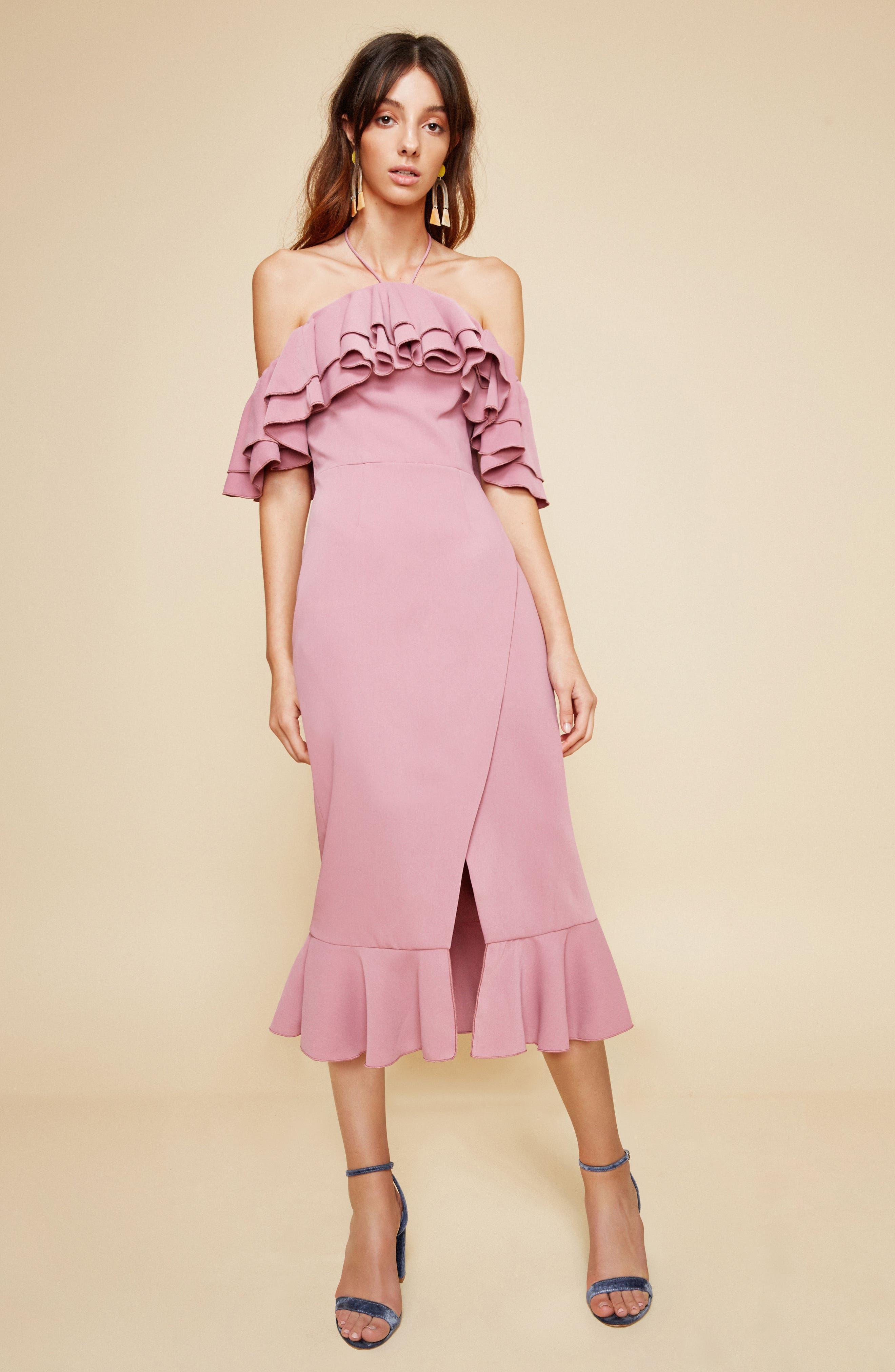 Temptation Ruffle Cold Shoulder Dress,                             Alternate thumbnail 8, color,