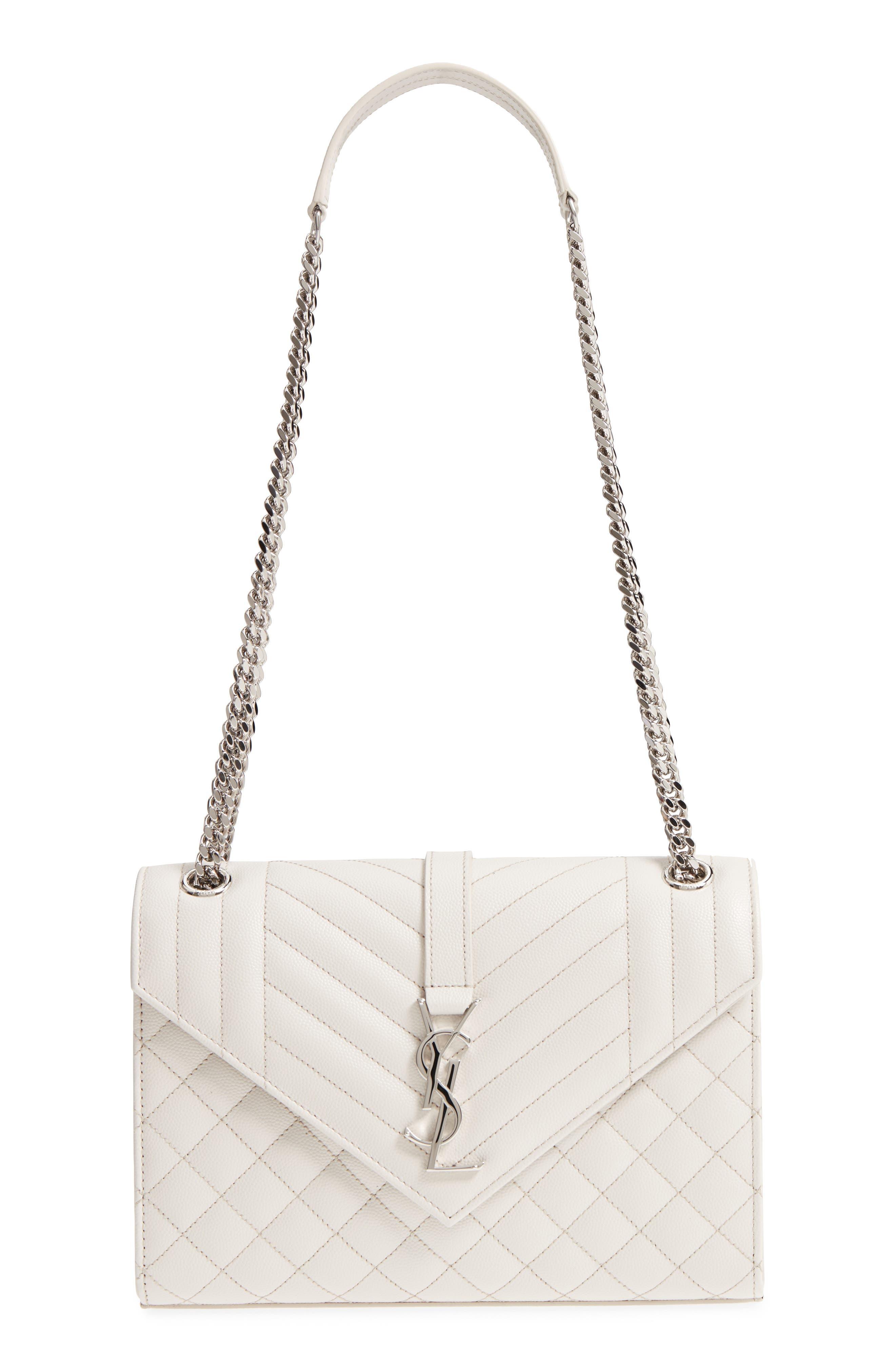 Medium Cassandra Calfskin Shoulder Bag,                         Main,                         color, ICY WHITE/ ICY WHITE