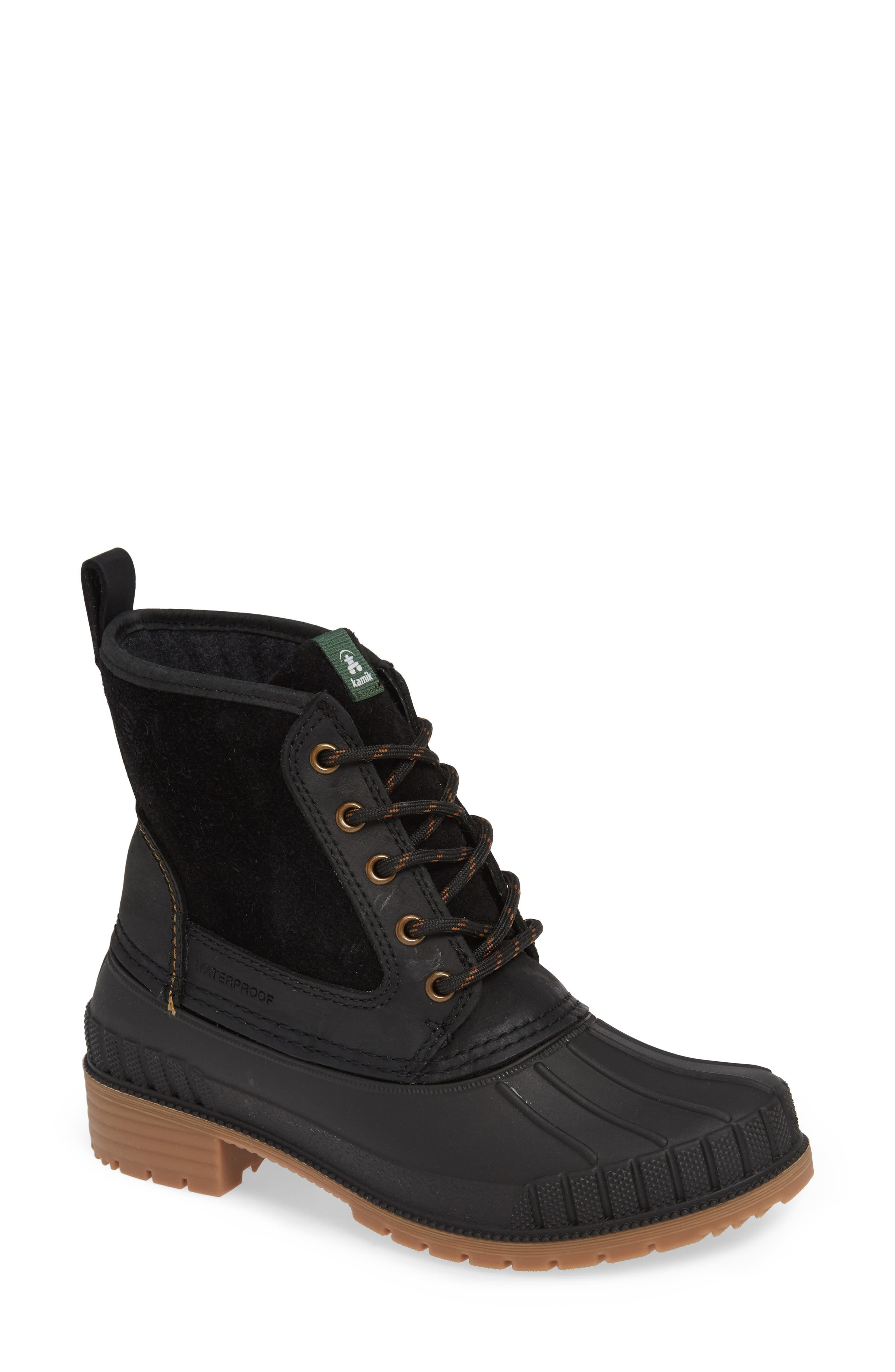 Sienna Waterproof Duck Boot,                             Main thumbnail 1, color,                             BLACK LEATHER
