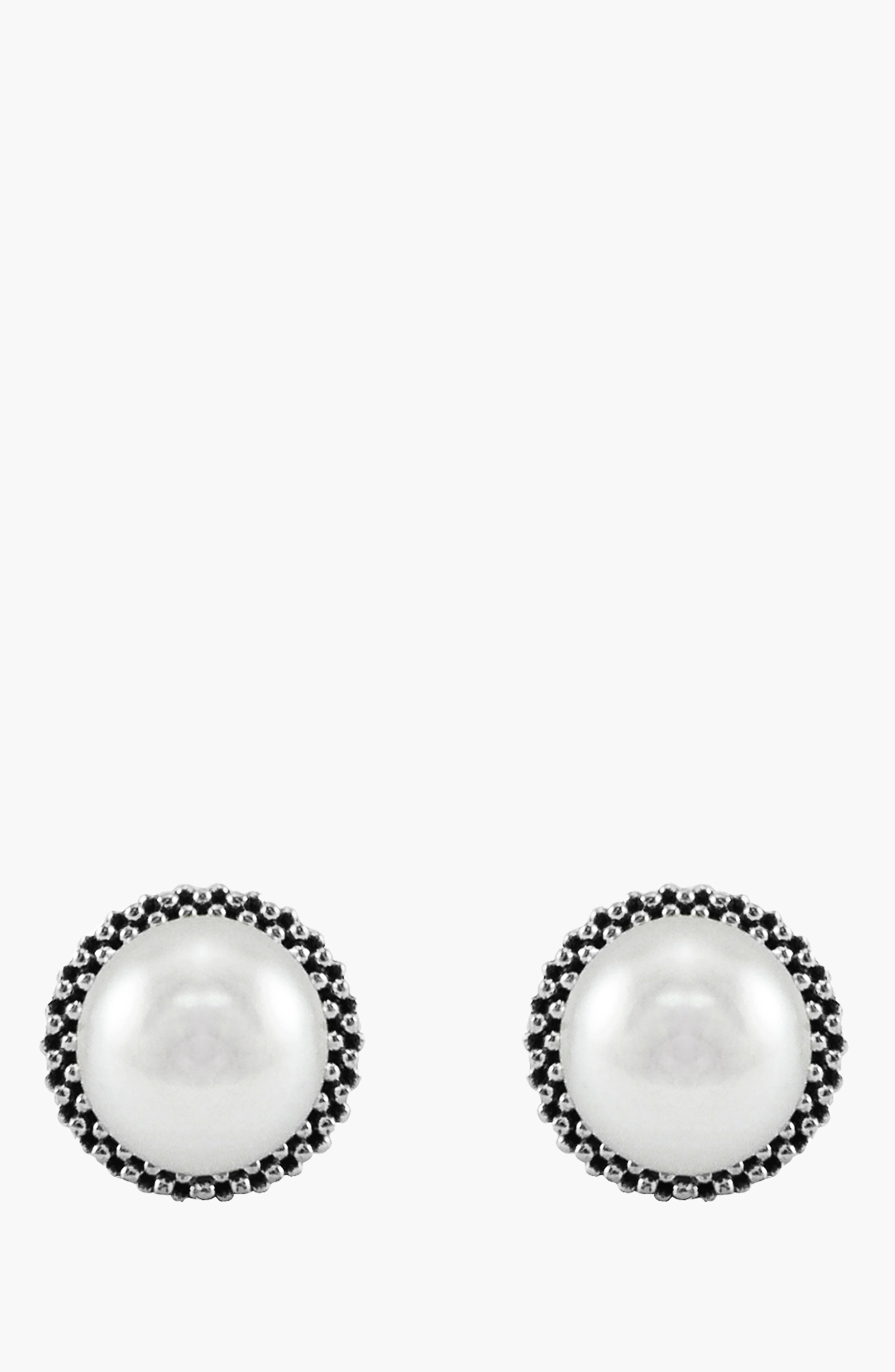 'Luna' Pearl Small Stud Earrings,                             Alternate thumbnail 4, color,                             SILVER/ PEARL