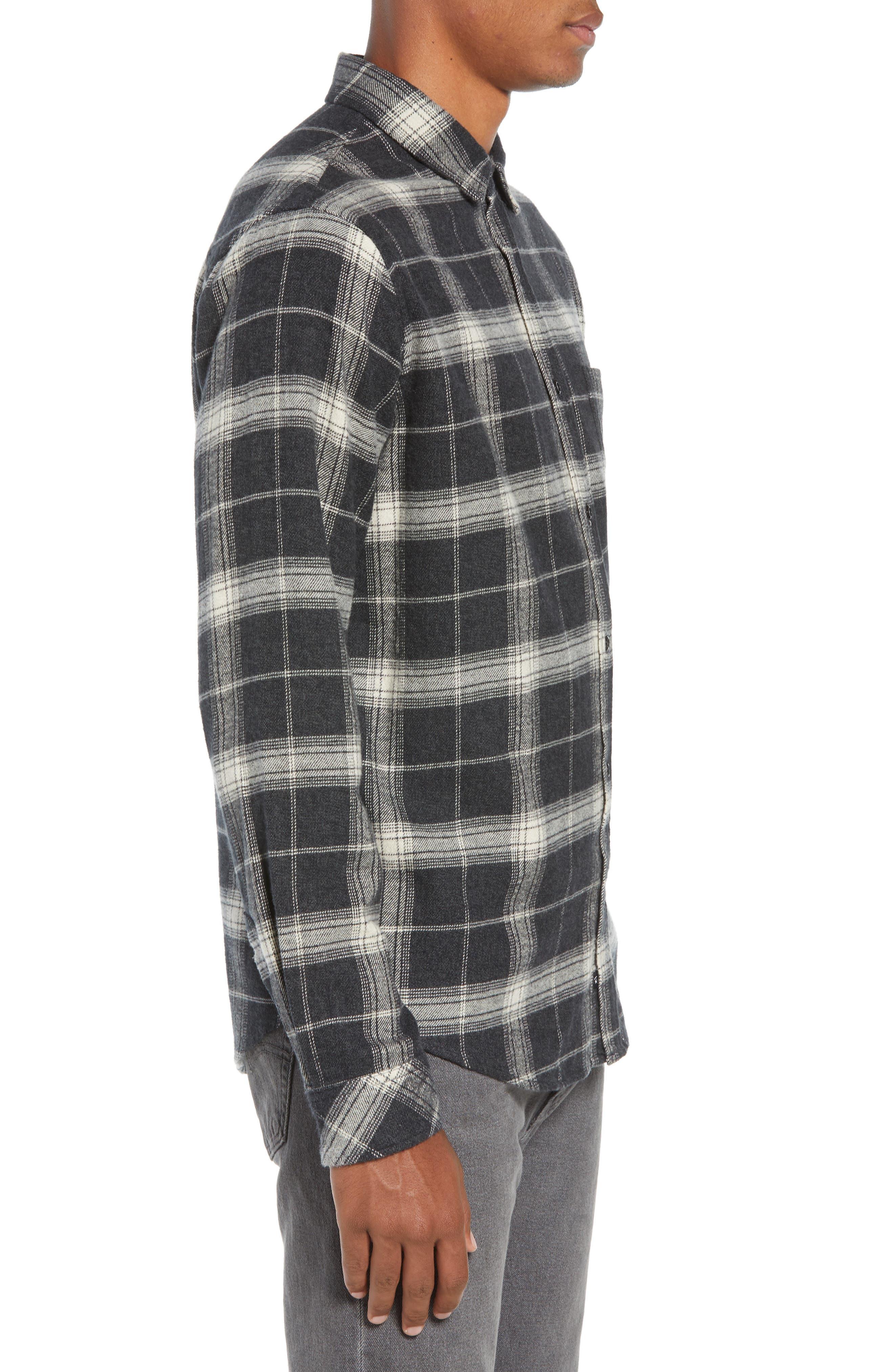 Forrest Regular Fit Plaid Flannel Sport Shirt,                             Alternate thumbnail 4, color,                             COAL/ IVORY