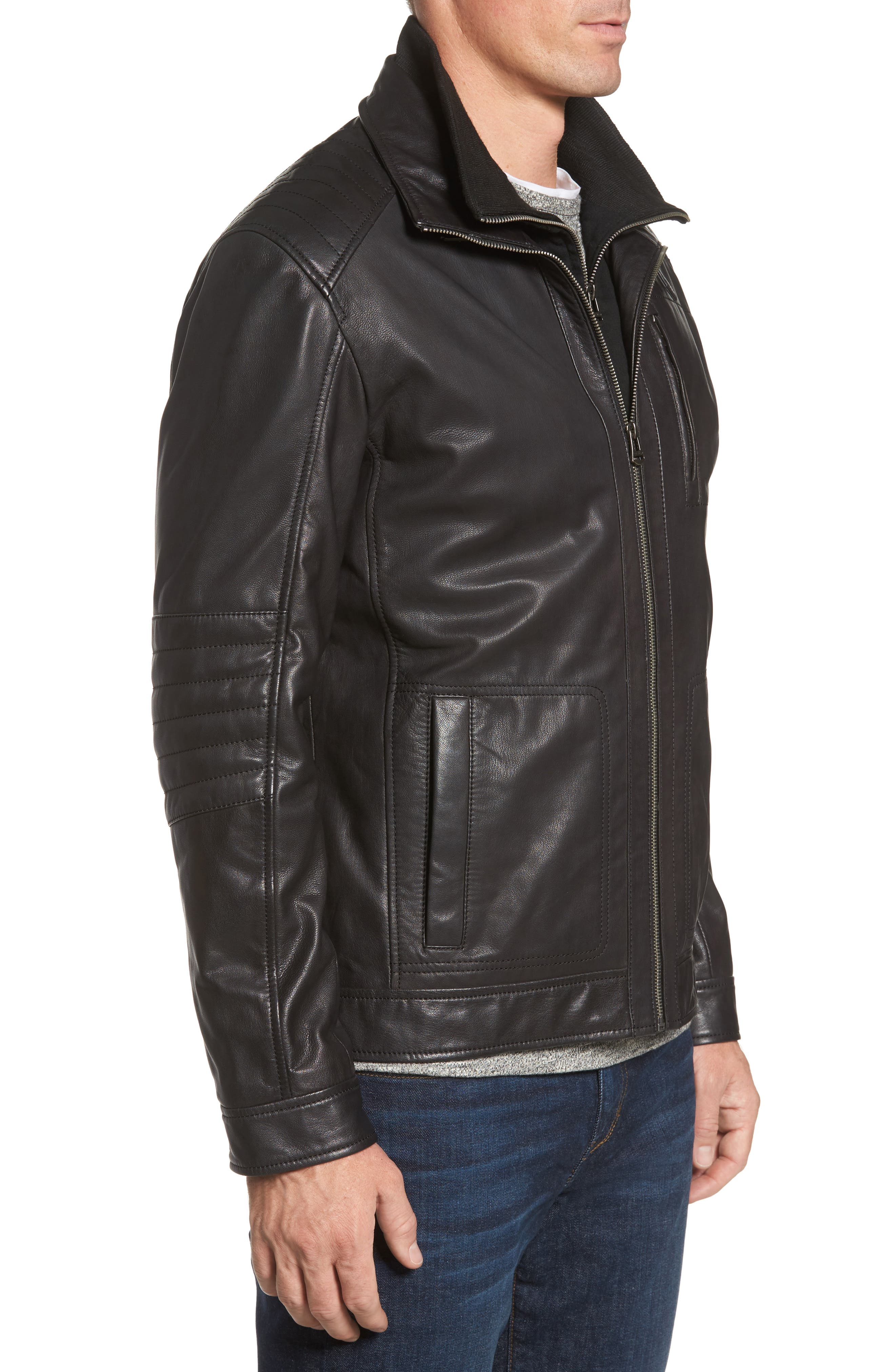 COLE HAAN,                             Washed Leather Moto Jacket with Knit Bib,                             Alternate thumbnail 3, color,                             001