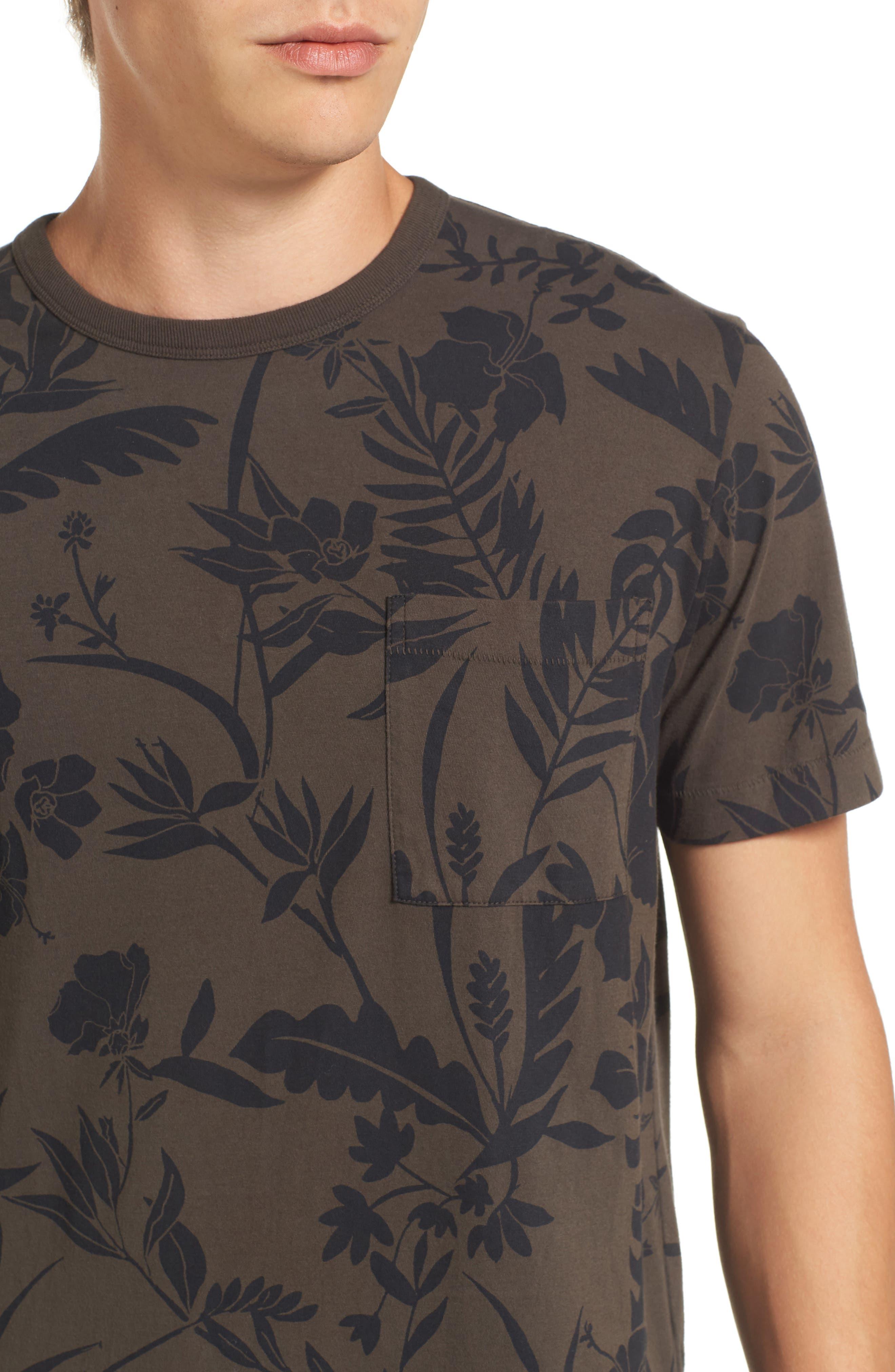 Floral Print T-Shirt,                             Alternate thumbnail 4, color,