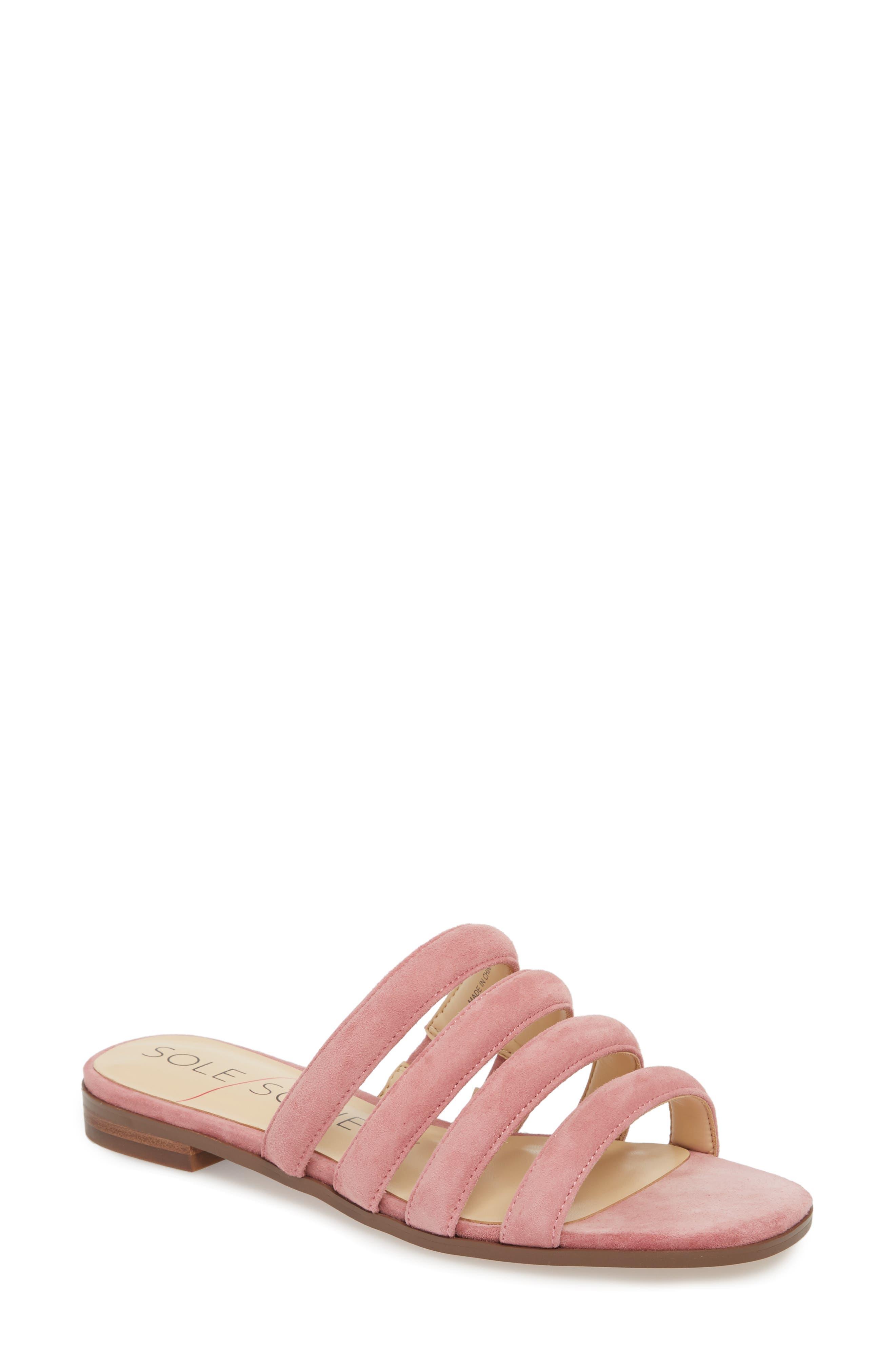 Sole Society Saxten Strappy Slide Sandal, Pink