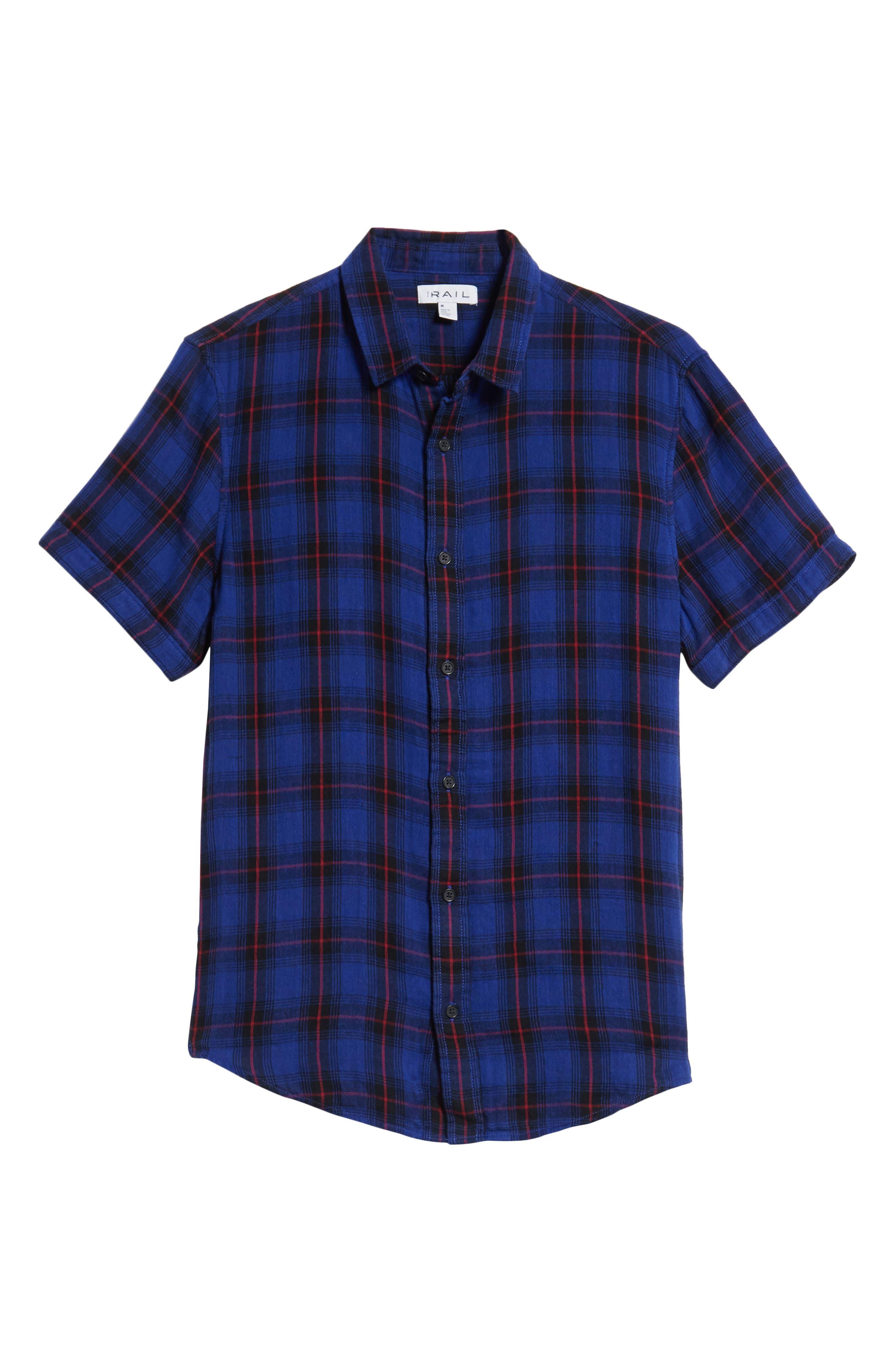 Plaid Woven Shirt,                             Alternate thumbnail 6, color,                             BLUE BLACK LUCA PLAID