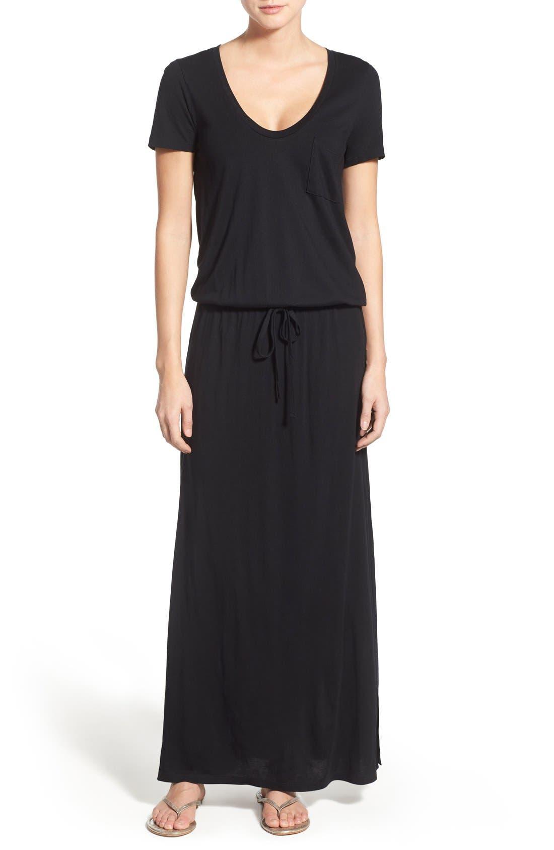 CASLON<SUP>®</SUP> Drawstring V-Neck Jersey Maxi Dress, Main, color, BLACK
