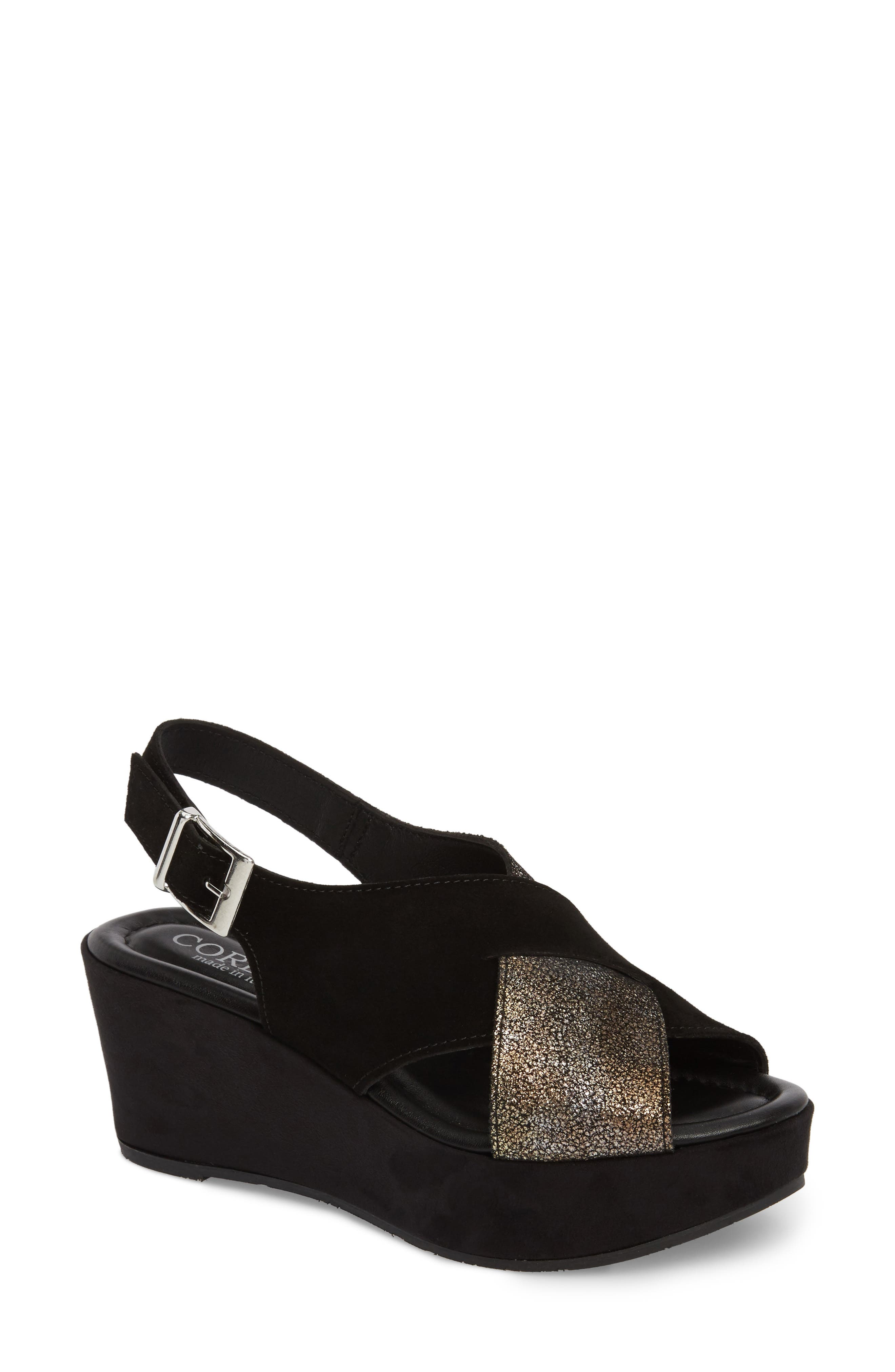 Cleary Wedge Sandal,                             Main thumbnail 1, color,                             BLACK/ PEWTER SUEDE