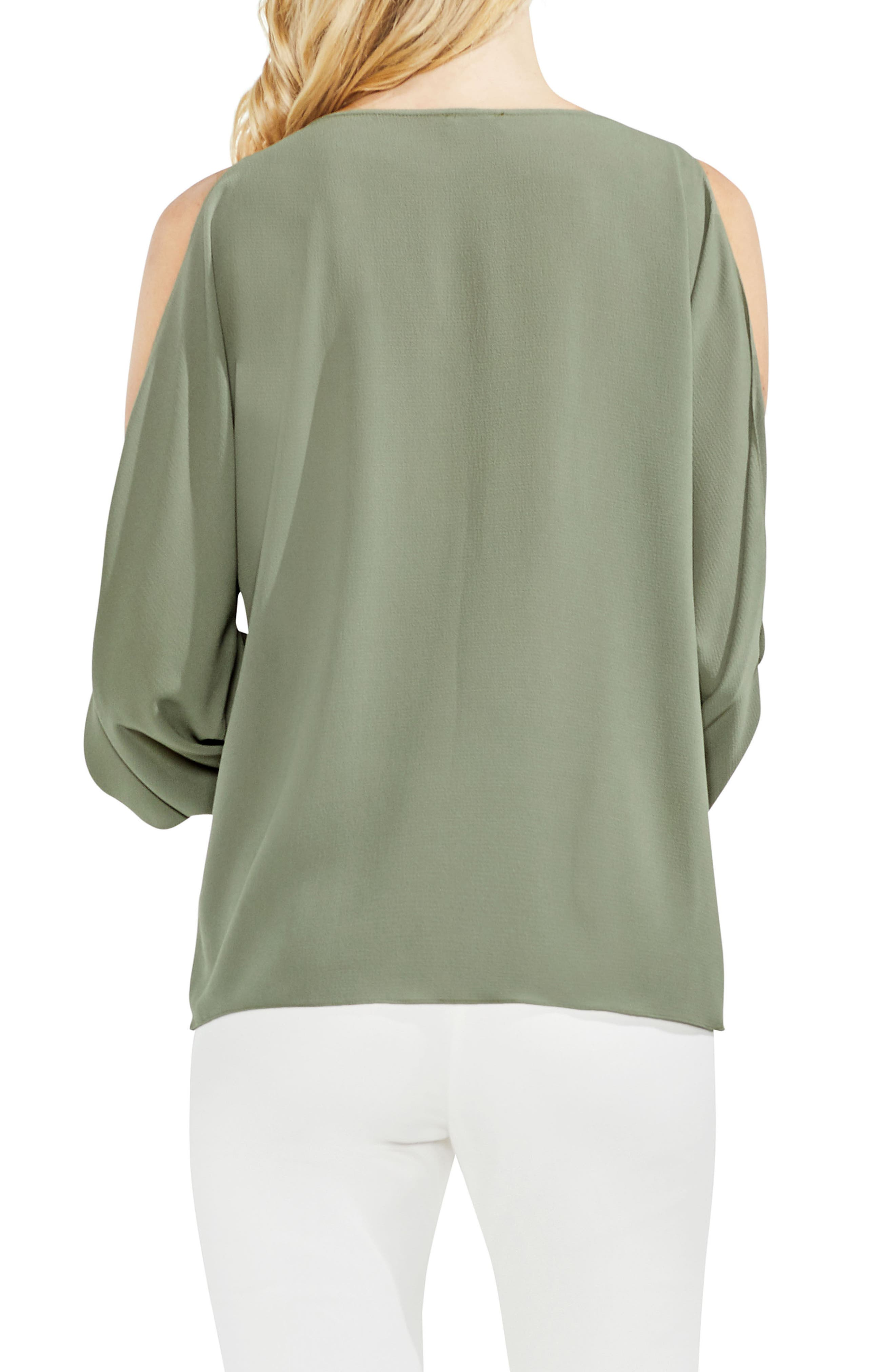 Cold Shoulder Flare Cuff Top,                             Alternate thumbnail 8, color,