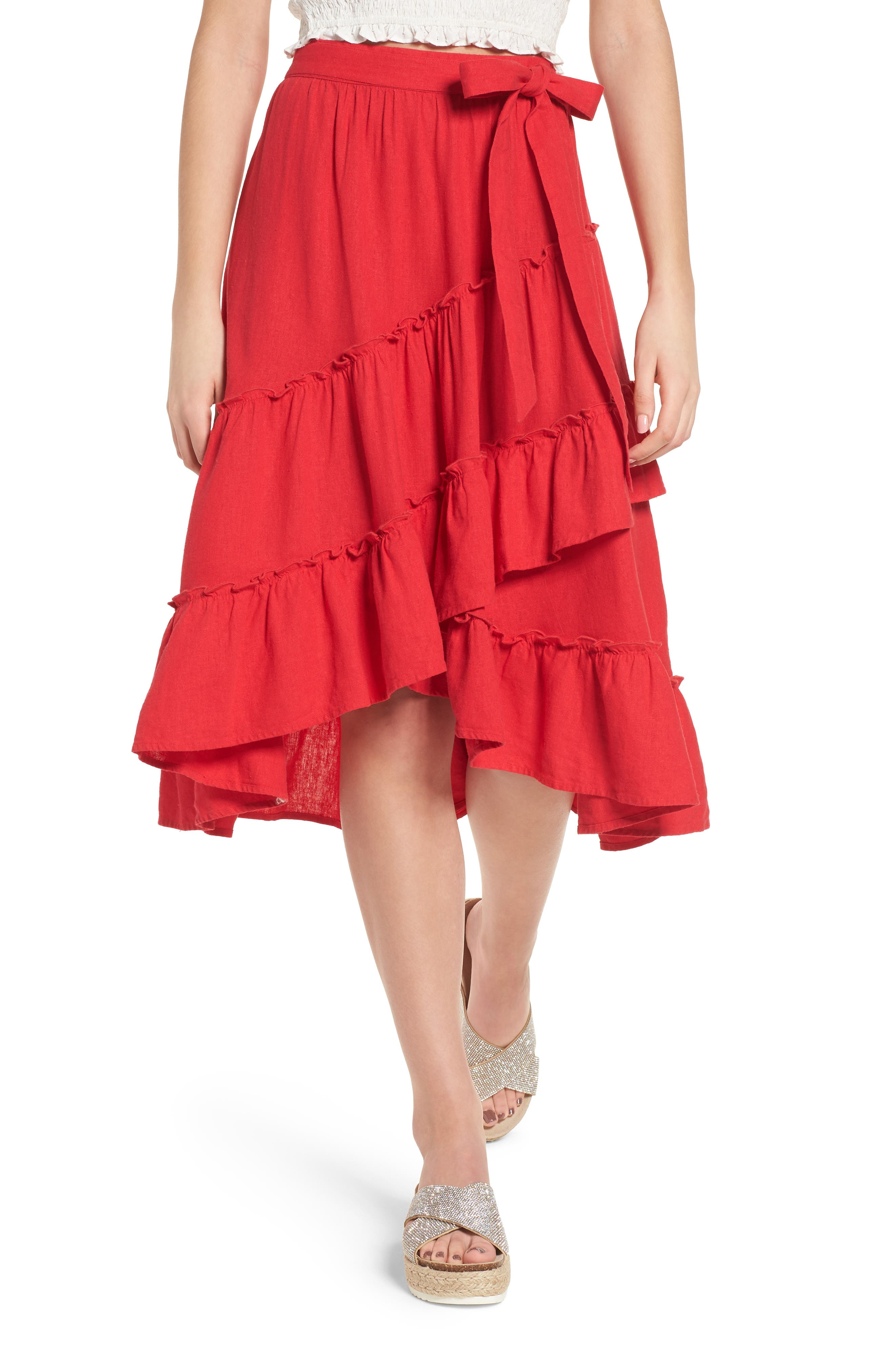 Tiered Faux Wrap Skirt,                             Main thumbnail 1, color,