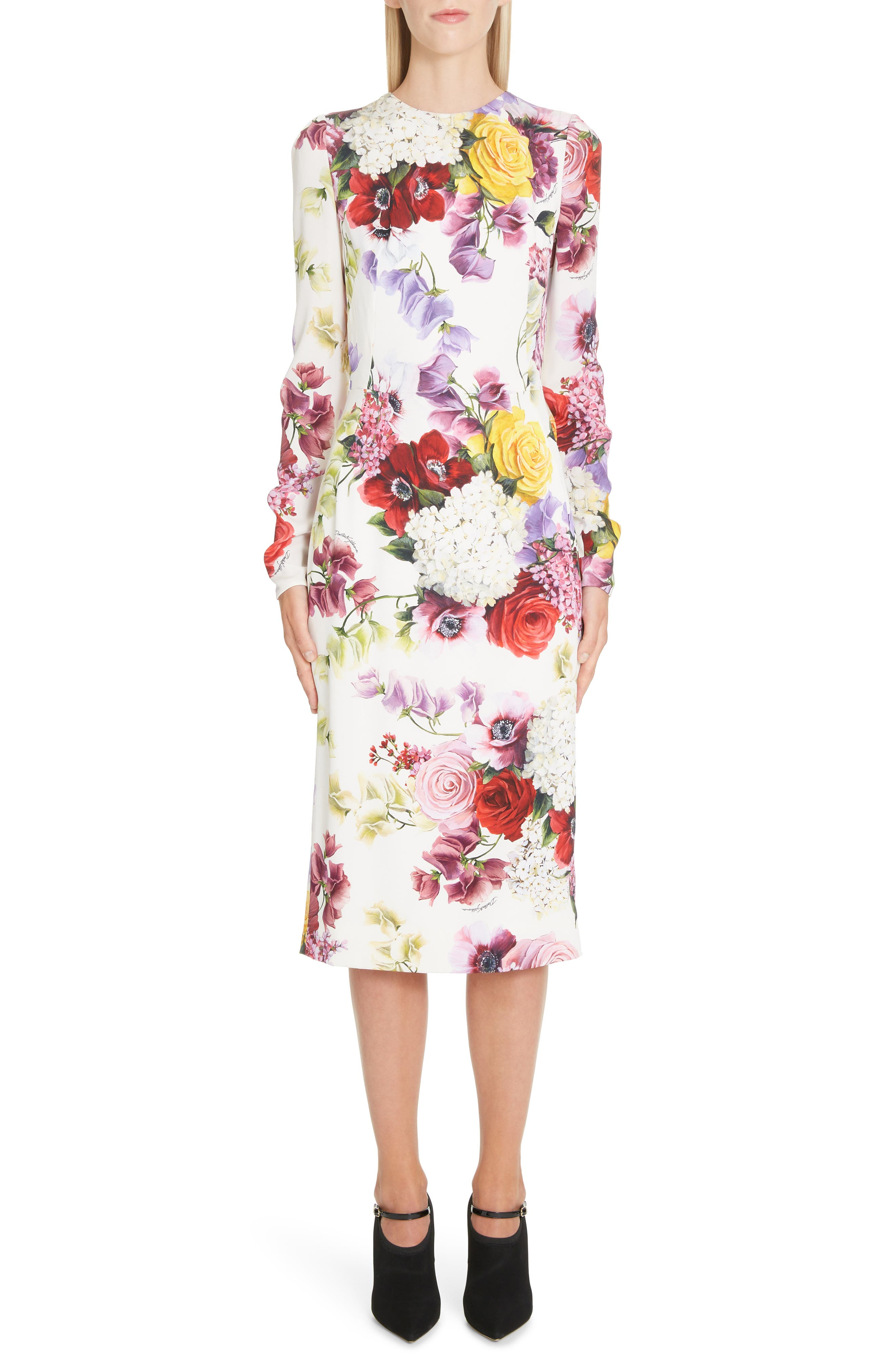 Dolce & gabbana Floral Print Stretch Silk Charmeuse Sheath Dress, US / 46 IT - White